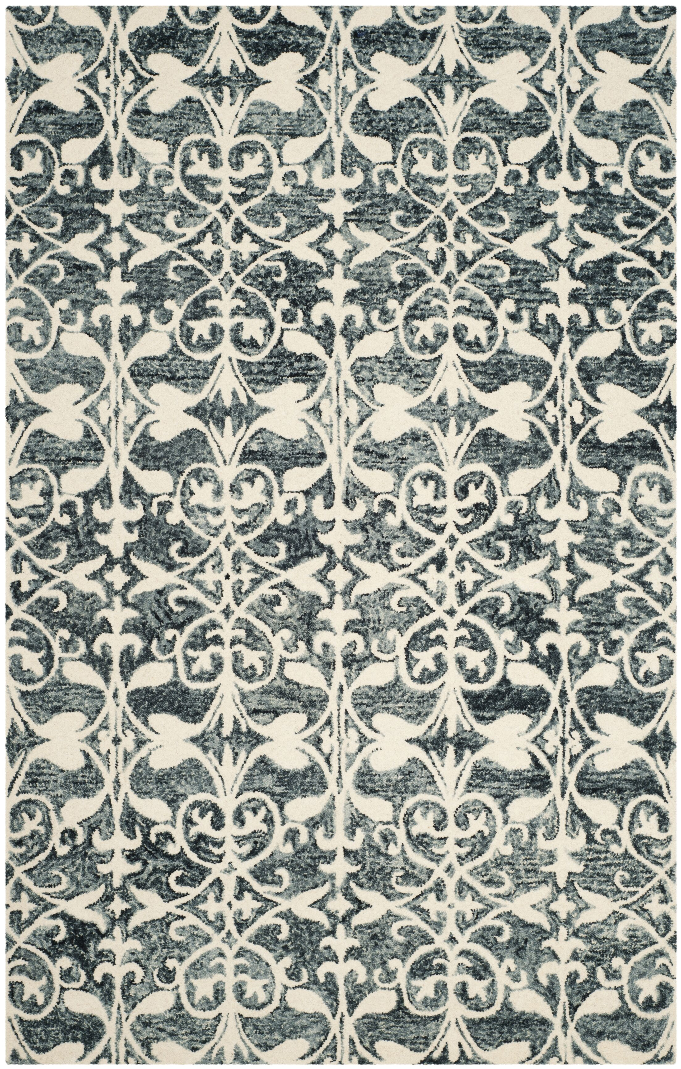 Greenmarket Hand-Tufted Charcoal/Ivory Area Rug Rug Size: Rectangle 8' x 10'