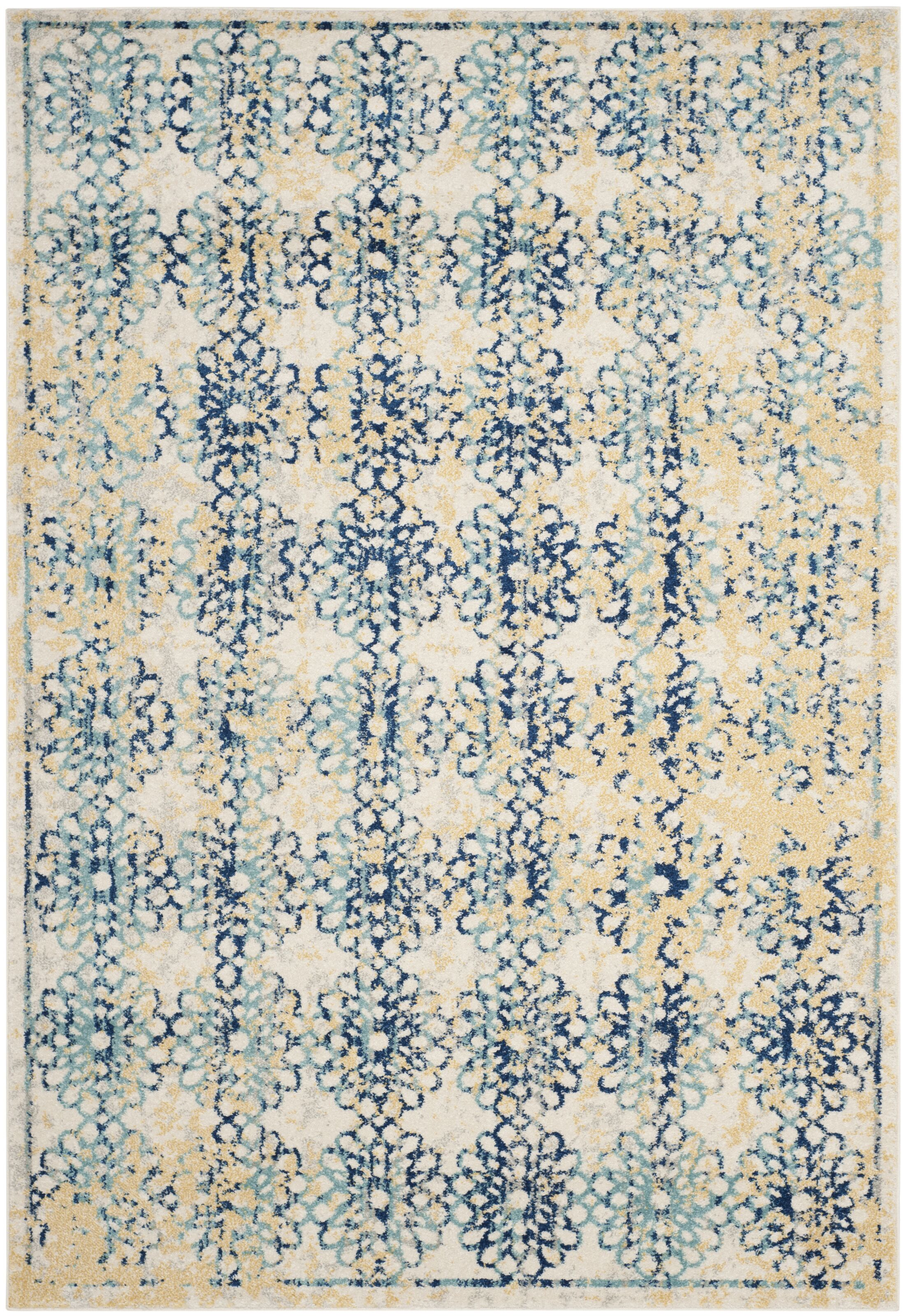 Elson Rectangle Ivory/Blue Area Rug Rug Size: Rectangle 10' x 14'