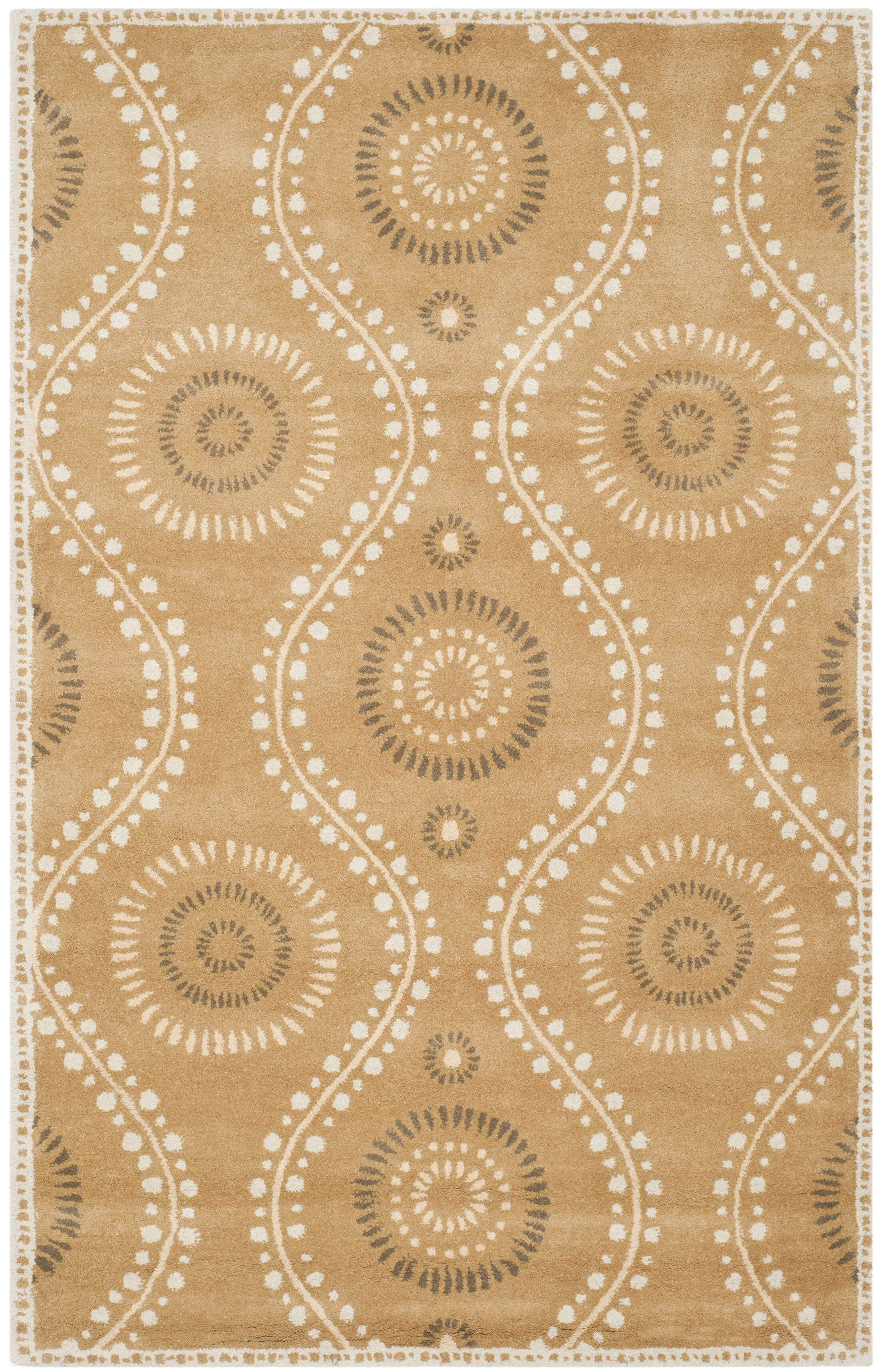 Ogee Dot Hand-Loomed Curry Area Rug Rug Size: Rectangle 4' x 6'
