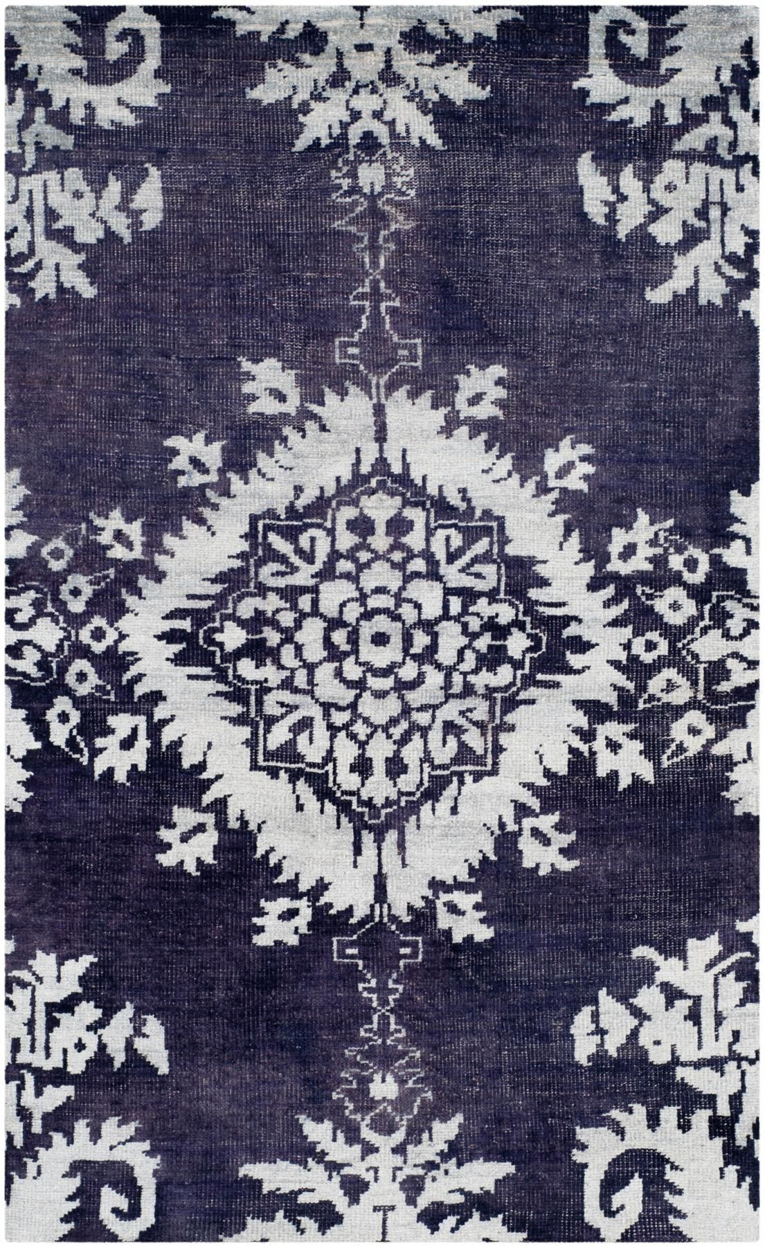 Moulouya Hand-Knotted Deep Purple Area Rug Rug Size: Rectangle 5' x 8'