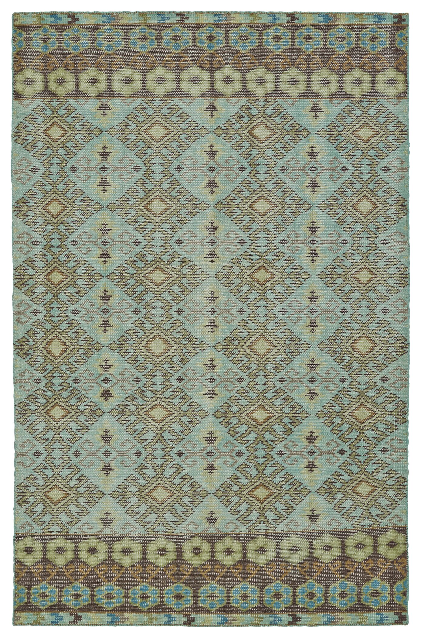 Masmoudi Hand-Knotted Turquoise Area Rug Rug Size: Rectangle 5'6