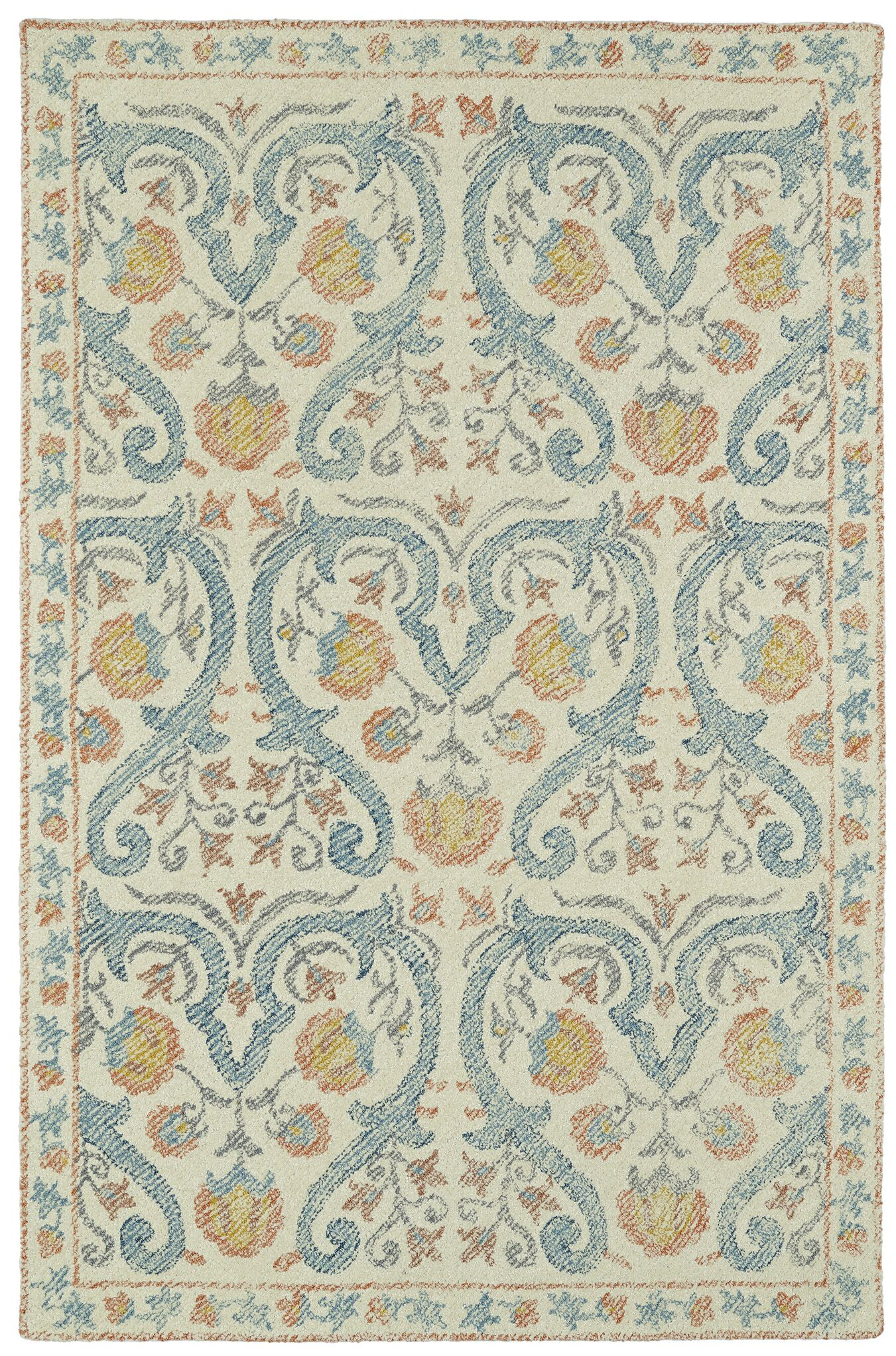 Locust Grove Hand-Tufted Beige/Blue Area Rug Rug Size: Rectangle 9' x 12'