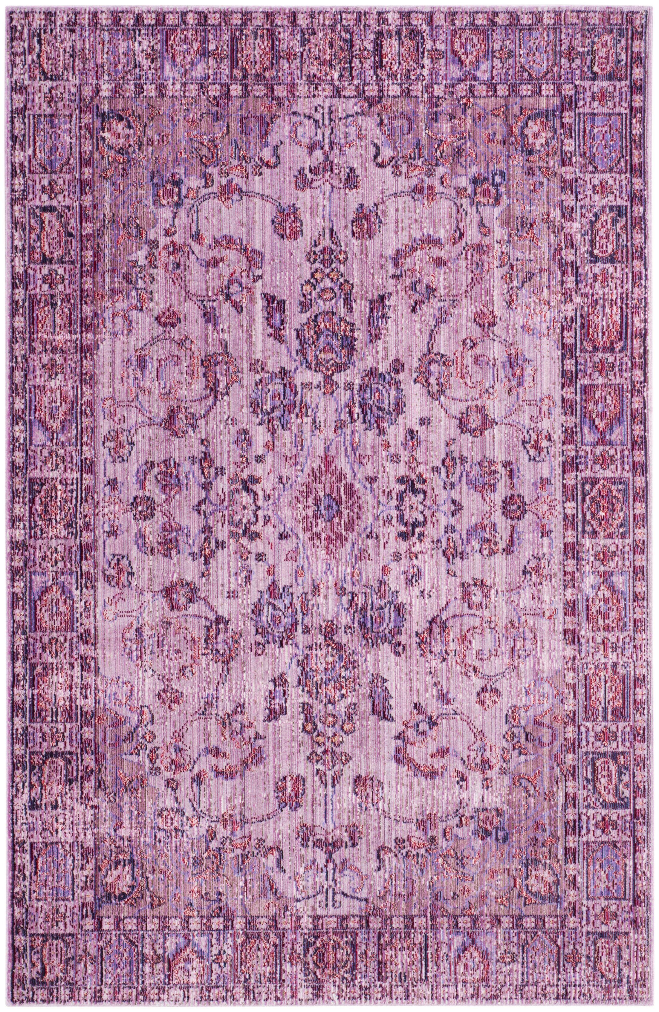 Privette Oriental Purple Area Rug Rug Size: Rectangle 5' x 8'