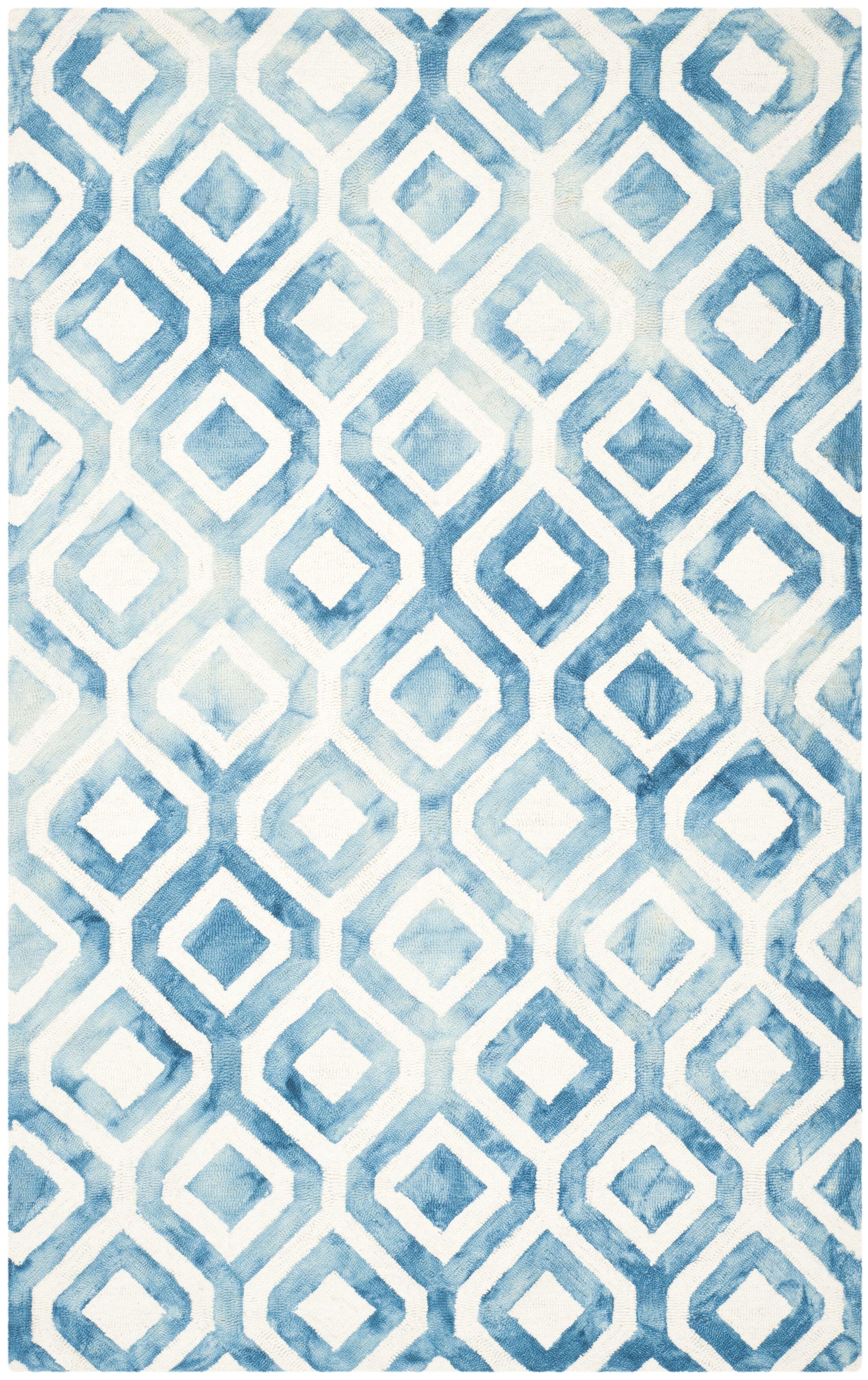 Bettina Hand-Woven Ivory/Blue Kids Rug Rug Size: Rectangle 4' x 6'