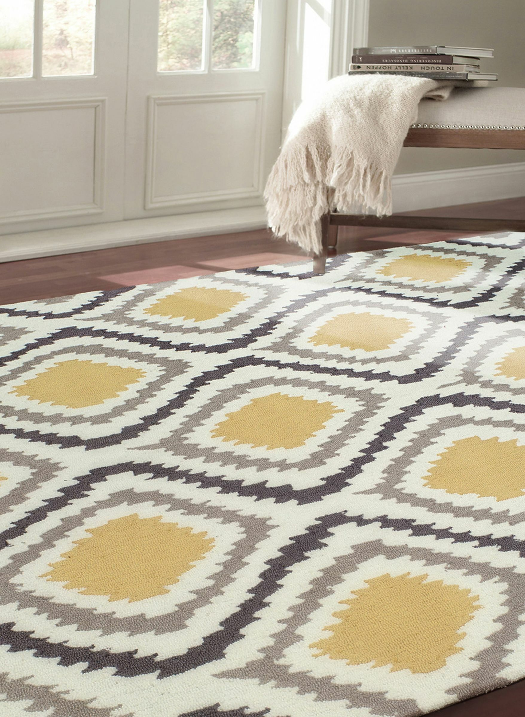 Garrard Hand-Woven Yellow Area Rug Rug Size: Rectangle 7'6