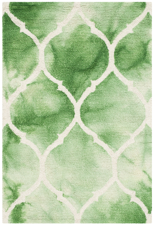 El Segundo Hand-Tufted Green/Ivory Area Rug Rug Size: Square 7'