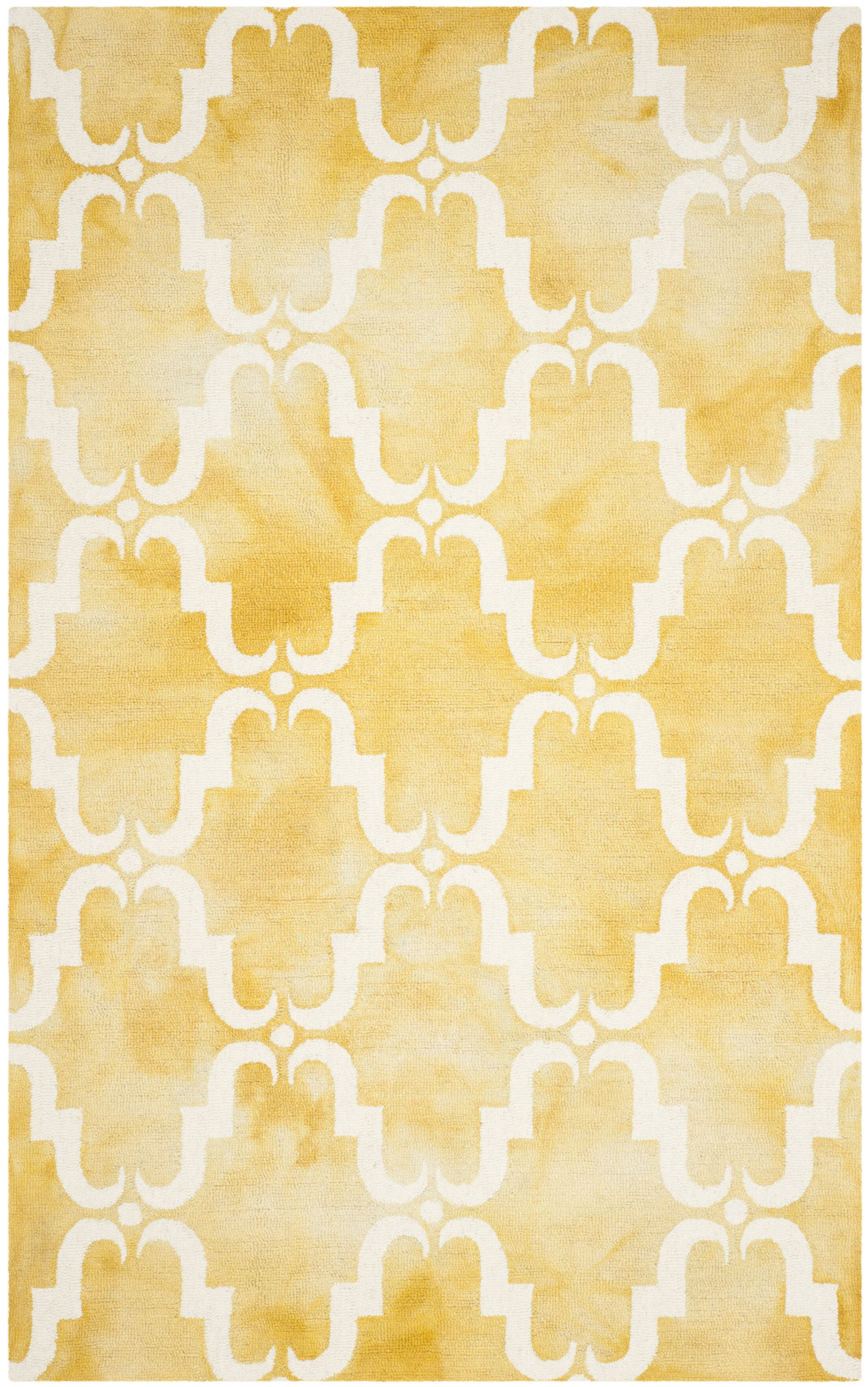 Hand-Tufted Gold/Ivory Area Rug Rug Size: Round 7'