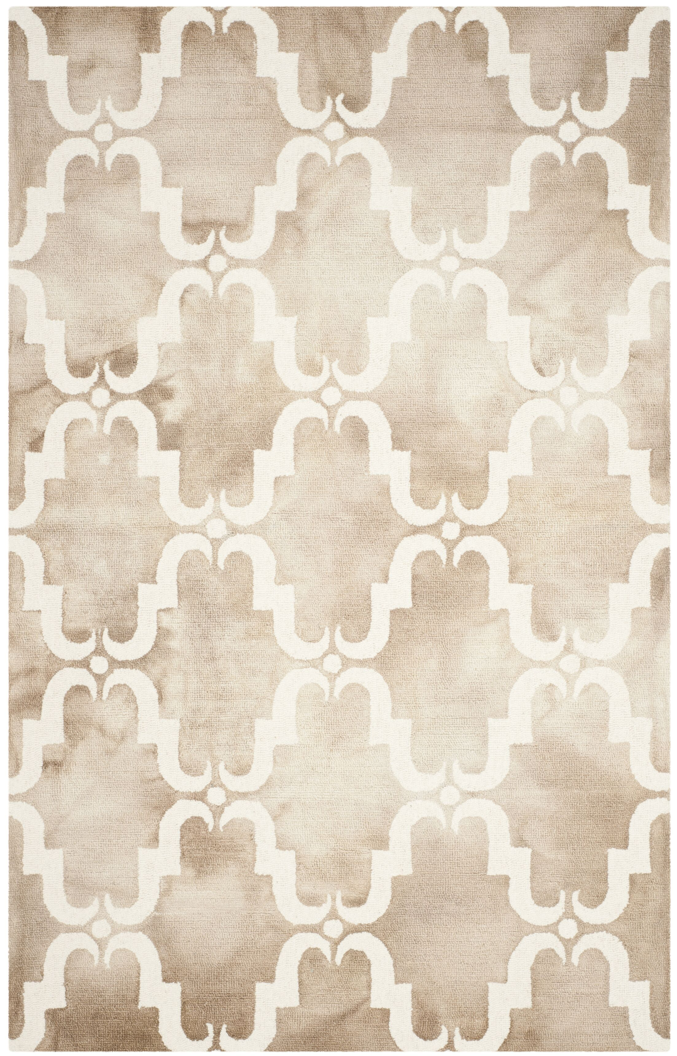 Hand-Tufted Dip Beige/Ivory Area Rug Rug Size: Rectangle 9' x 12'