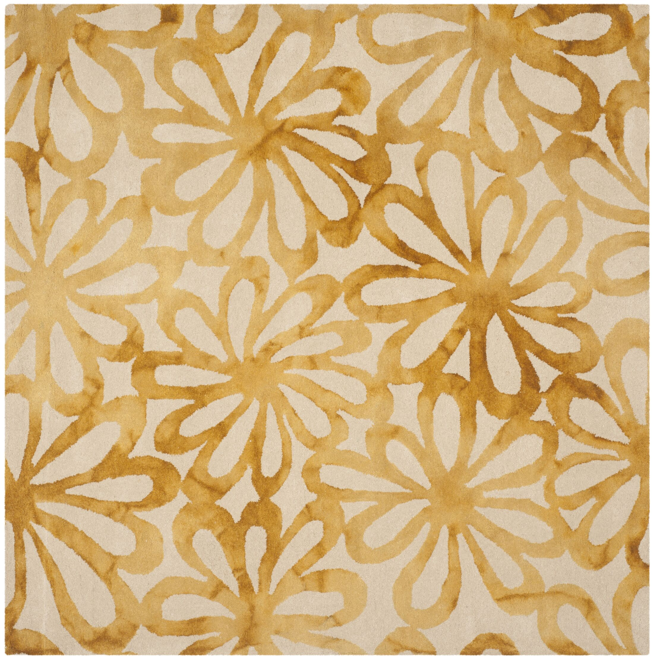 Hand-Tufted Beige & Gold Area Rug Rug Size: Square 5'