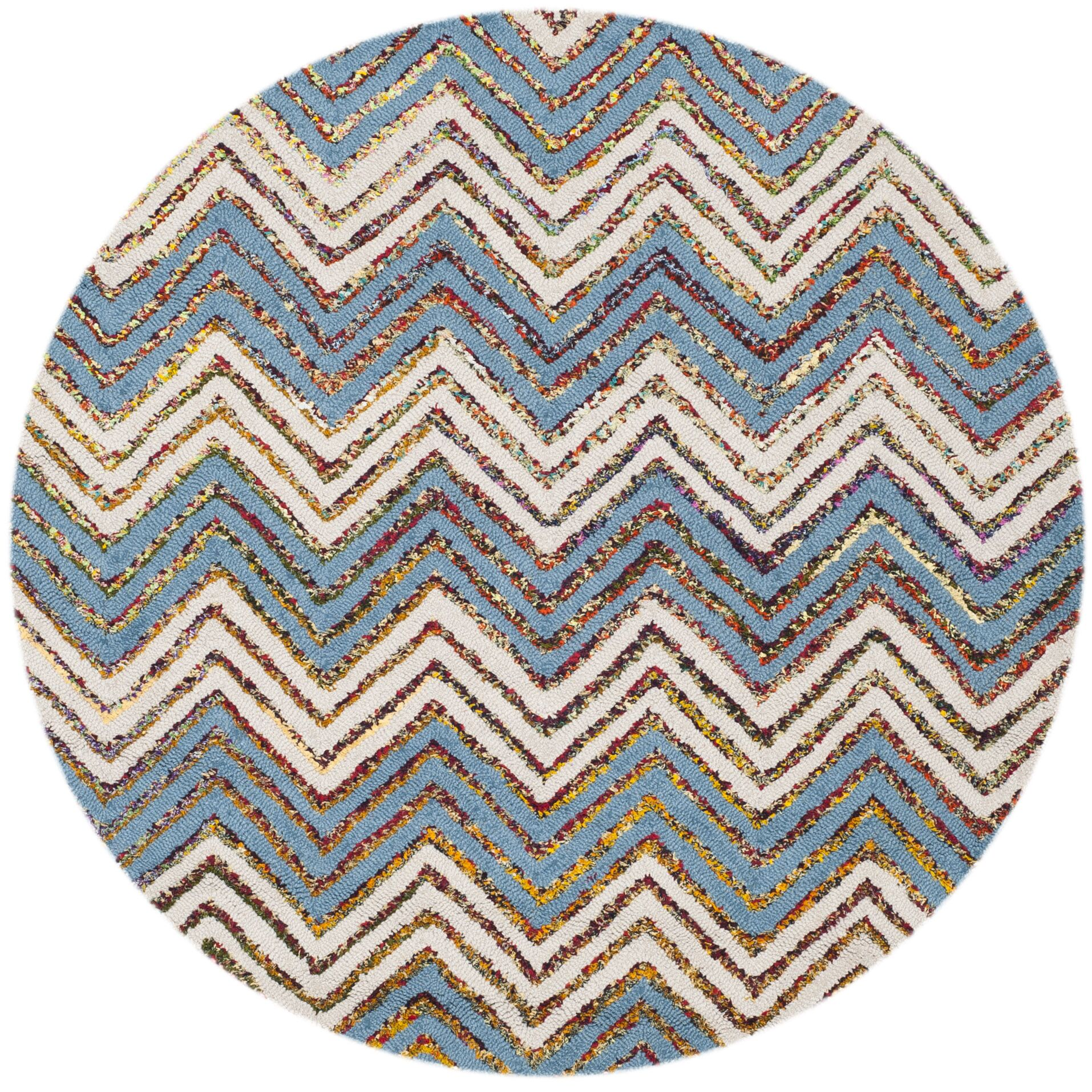 Tufted Cotton Beige/Blue Area Rug Rug Size: Round 4'
