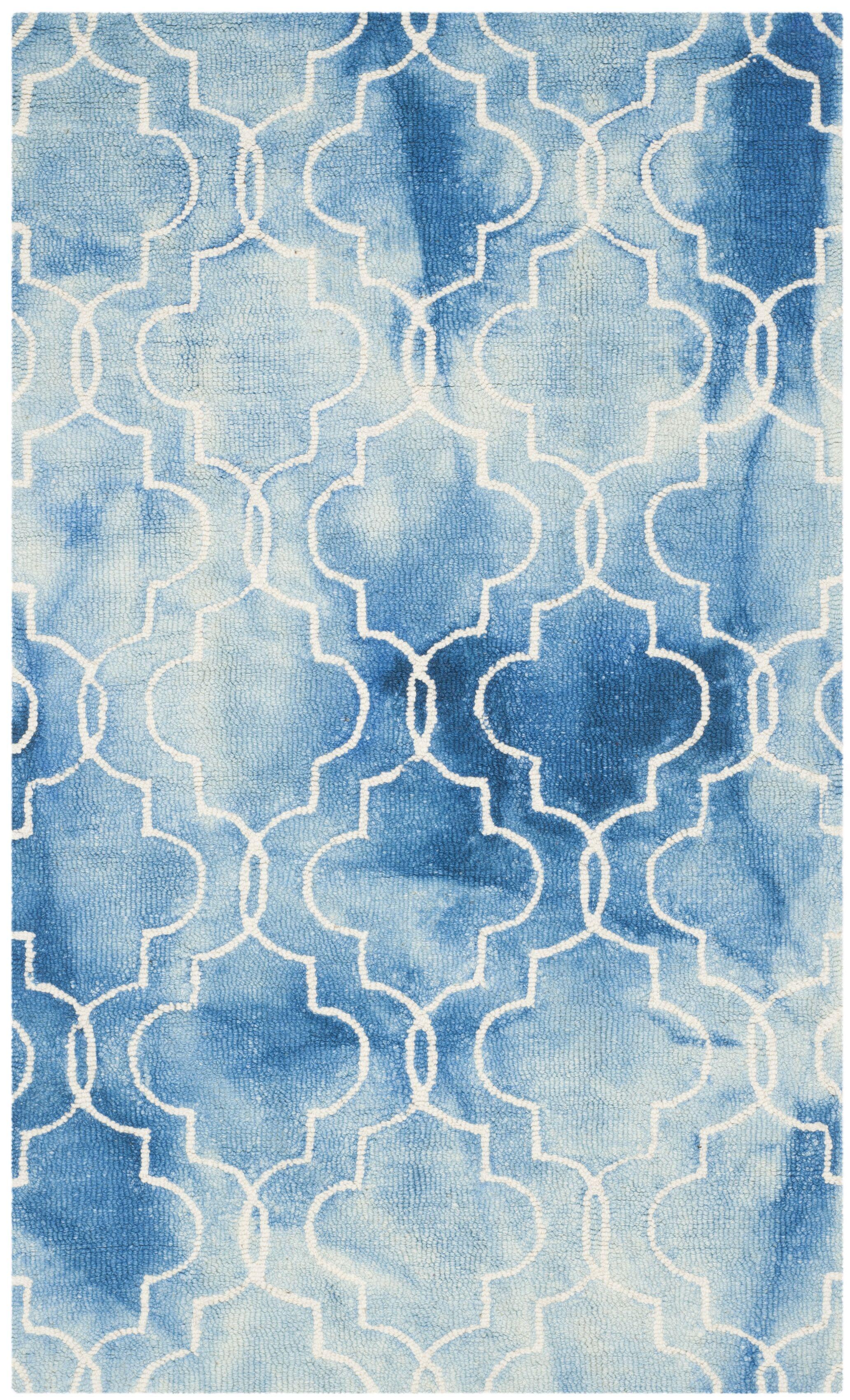 Handmade Blue/Ivory Area Rug Rug Size: Square 5'