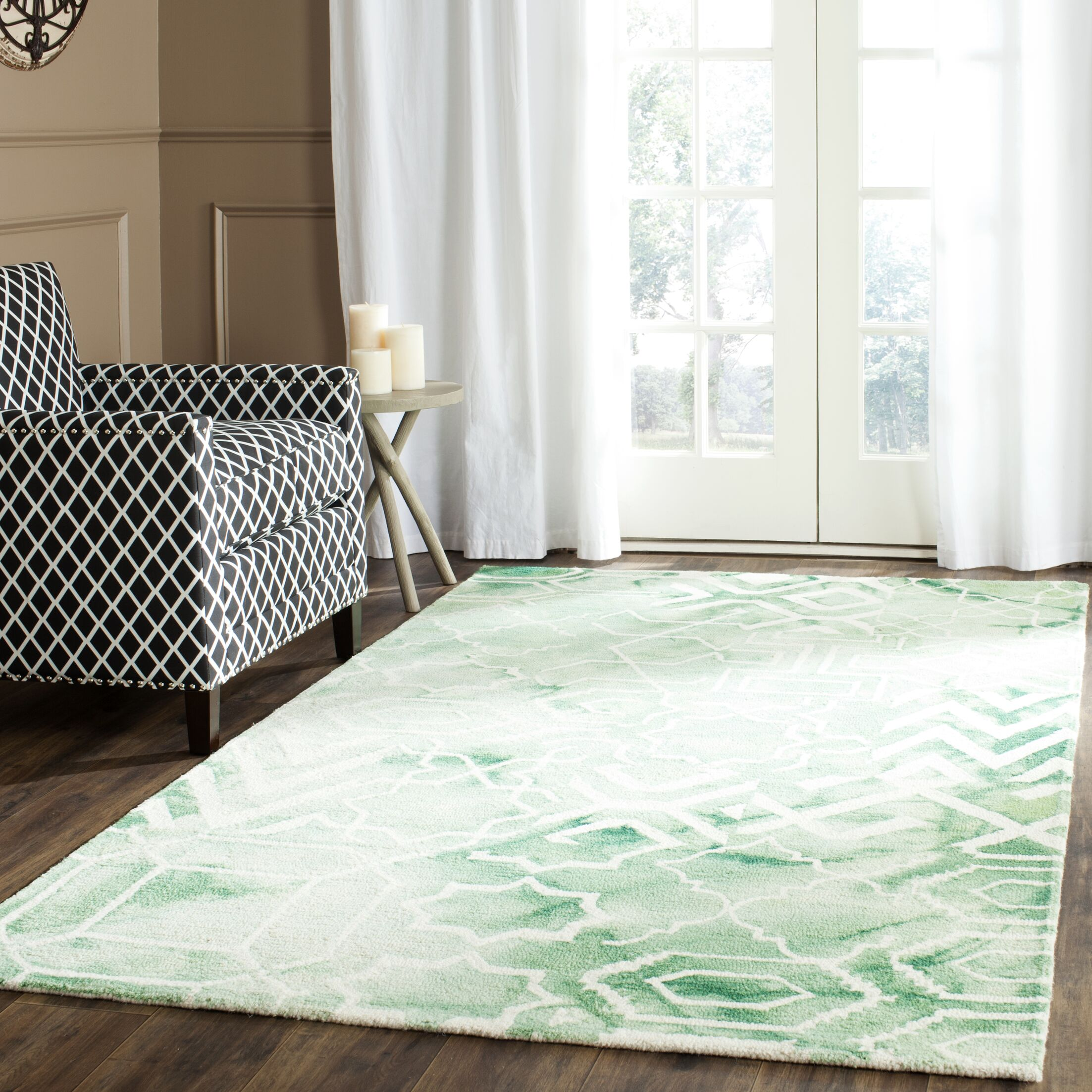 Landry Hand-Tufted Green/Ivory Area Rug Rug Size: Rectangle 6' x 9'