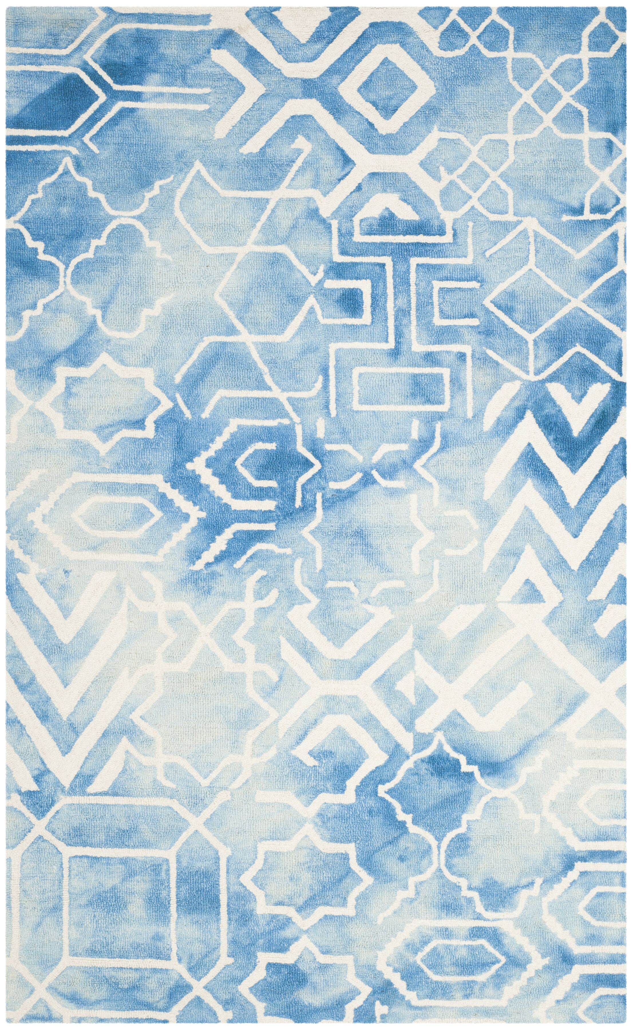 Dip Dye Hand-Tufted Blue/Ivory Area Rug Rug Size: Square 5'