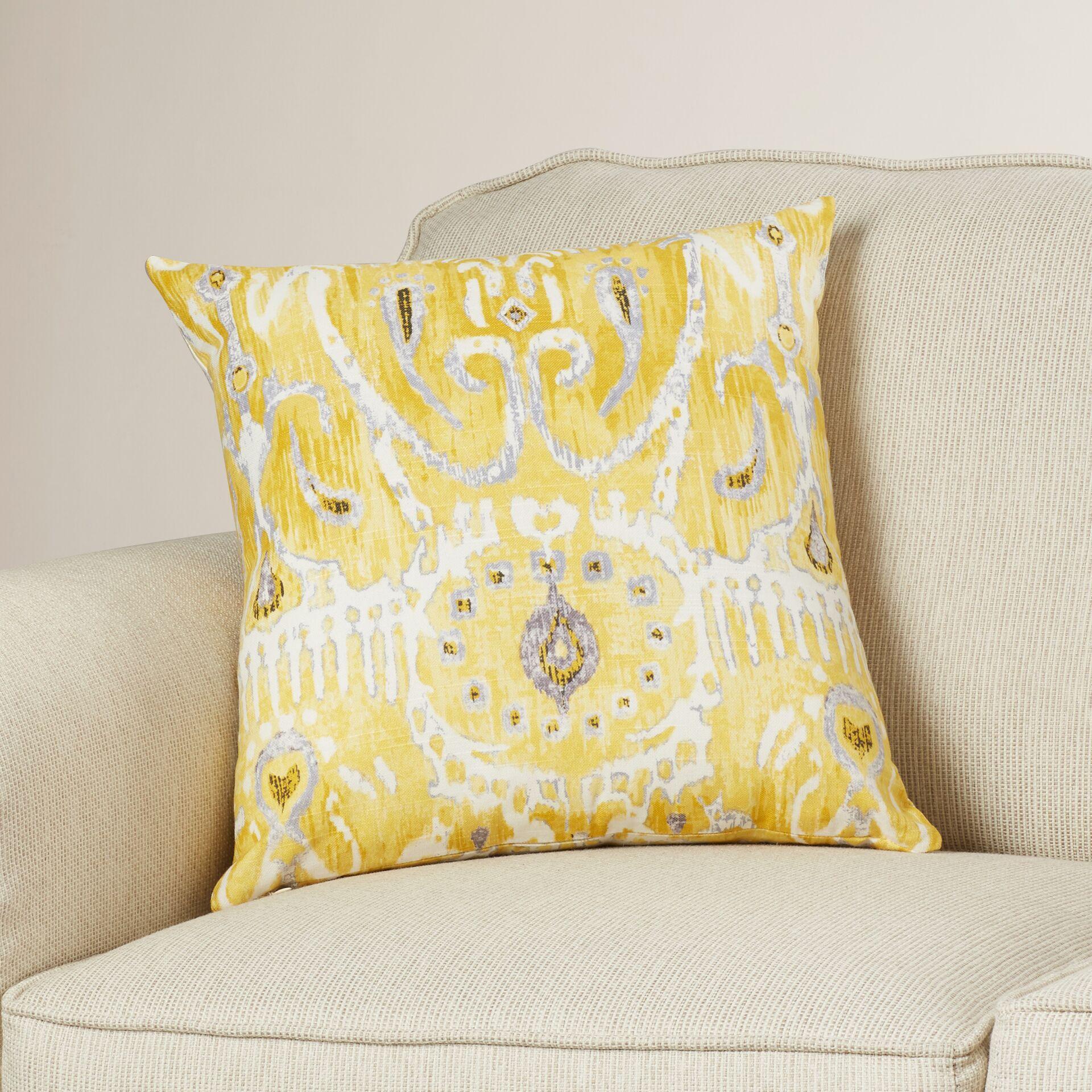Clara Ikat Cotton Throw Pillow Color: Lemon, Size: 22