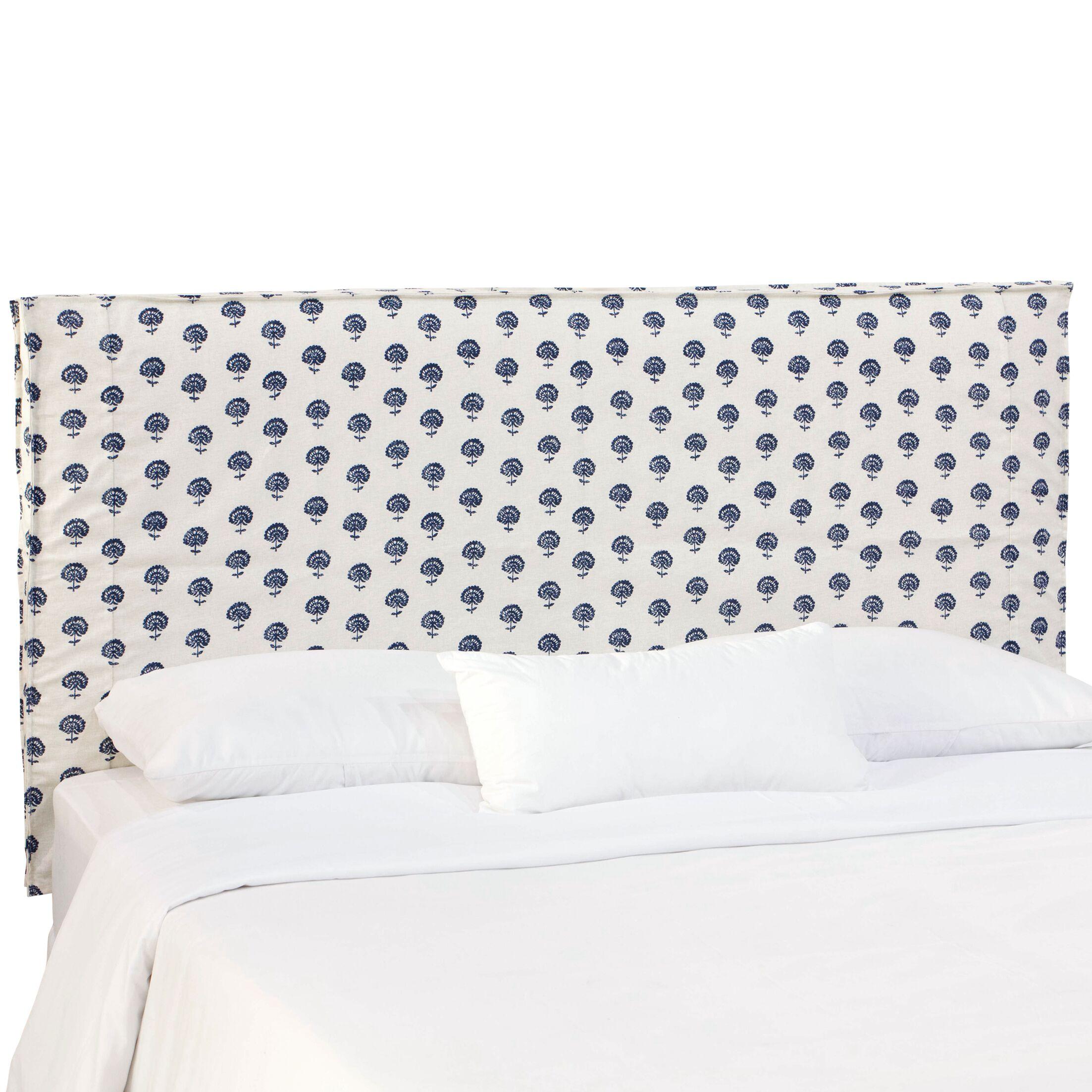Sylvaner Upholstered Panel Headboard Size: Queen, Upholstery: Hand Flora Indigo