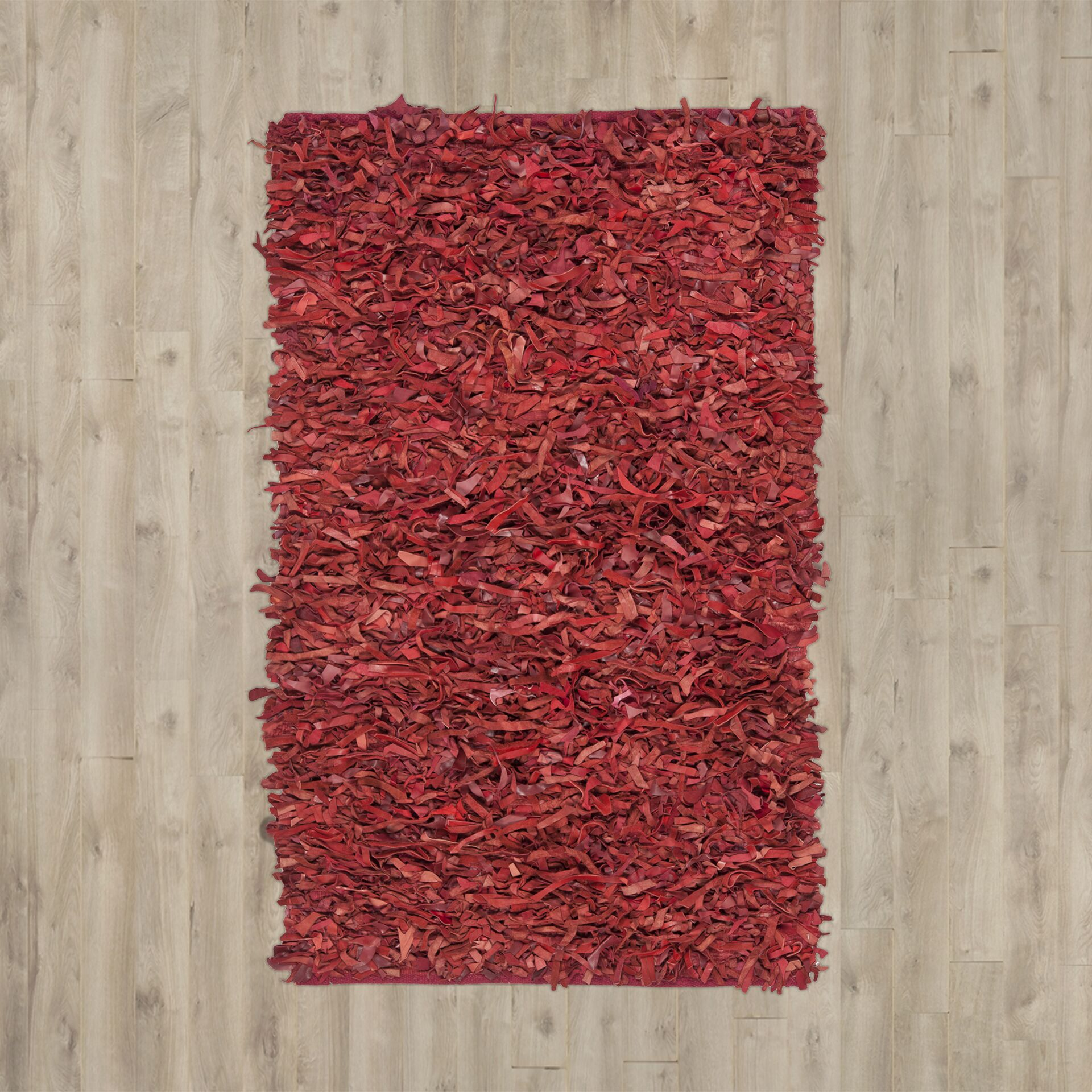 Schaefer Hand-Knotted Red Shag Area Rug Rug Size: Rectangle 6' x 9'