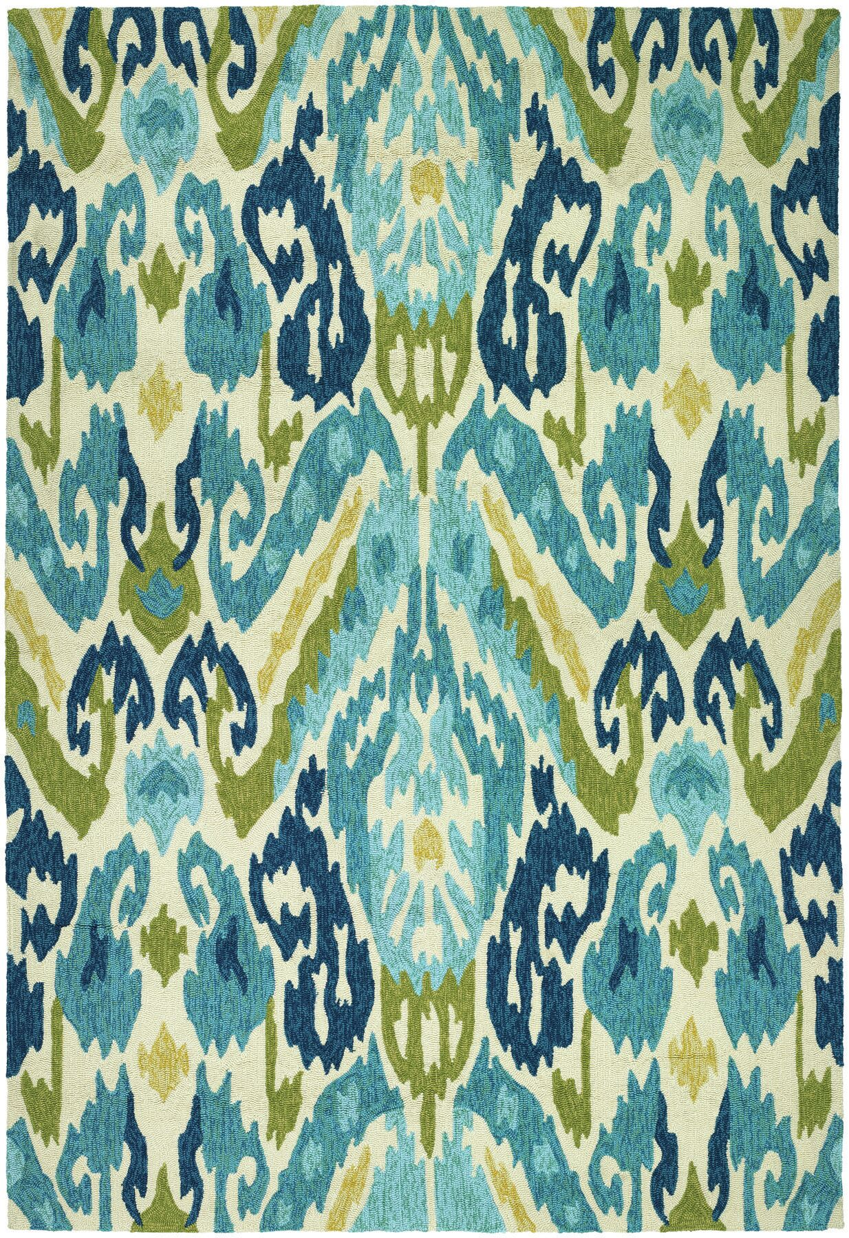 Mariann Hand-Woven Green/Blue Indoor/Outdoor Area Rug Rug Size: Rectangle 5'6