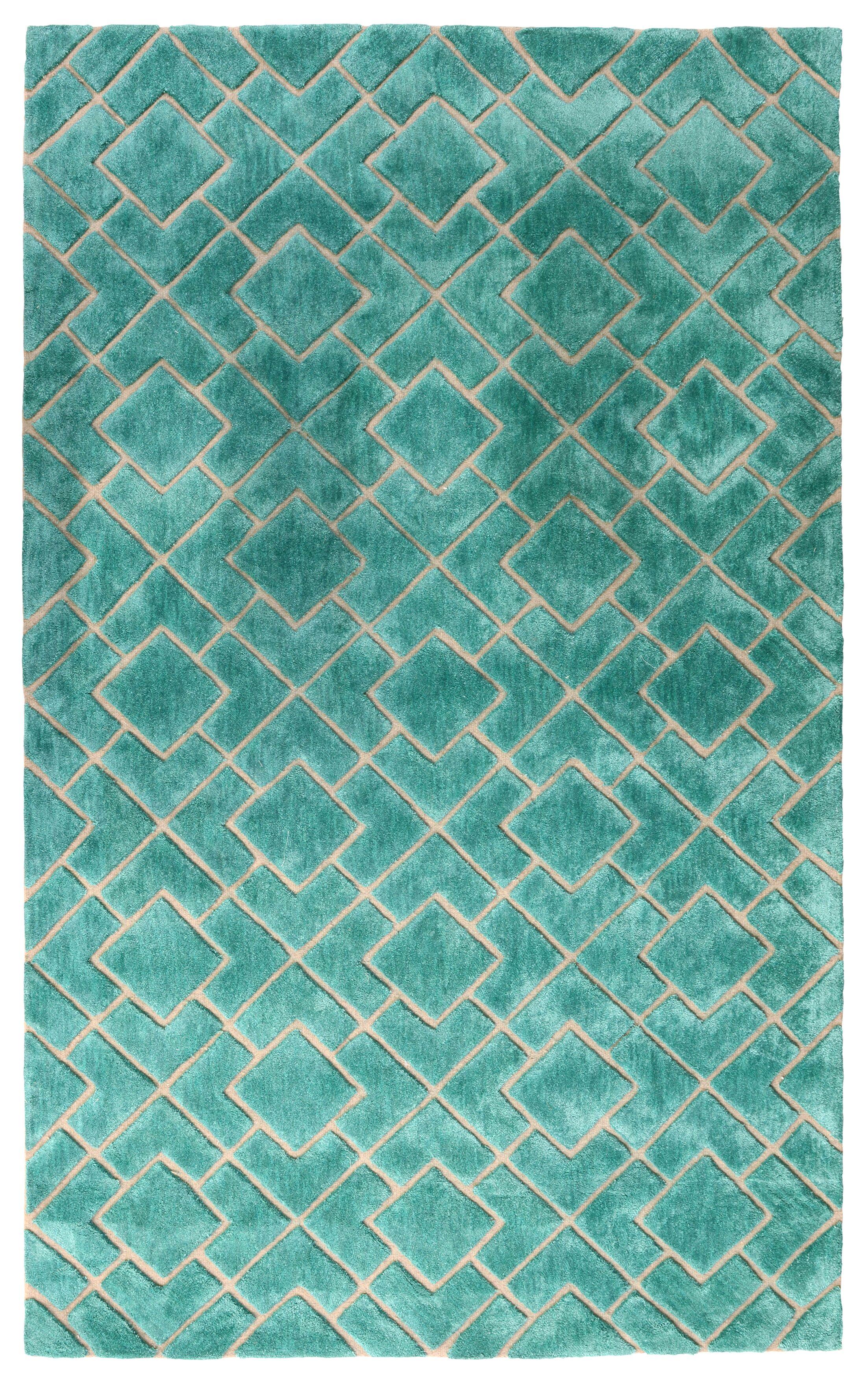 Karolinka Hand-Tufted Royal Turquoise Area Rug Rug Size: 5' x 8'