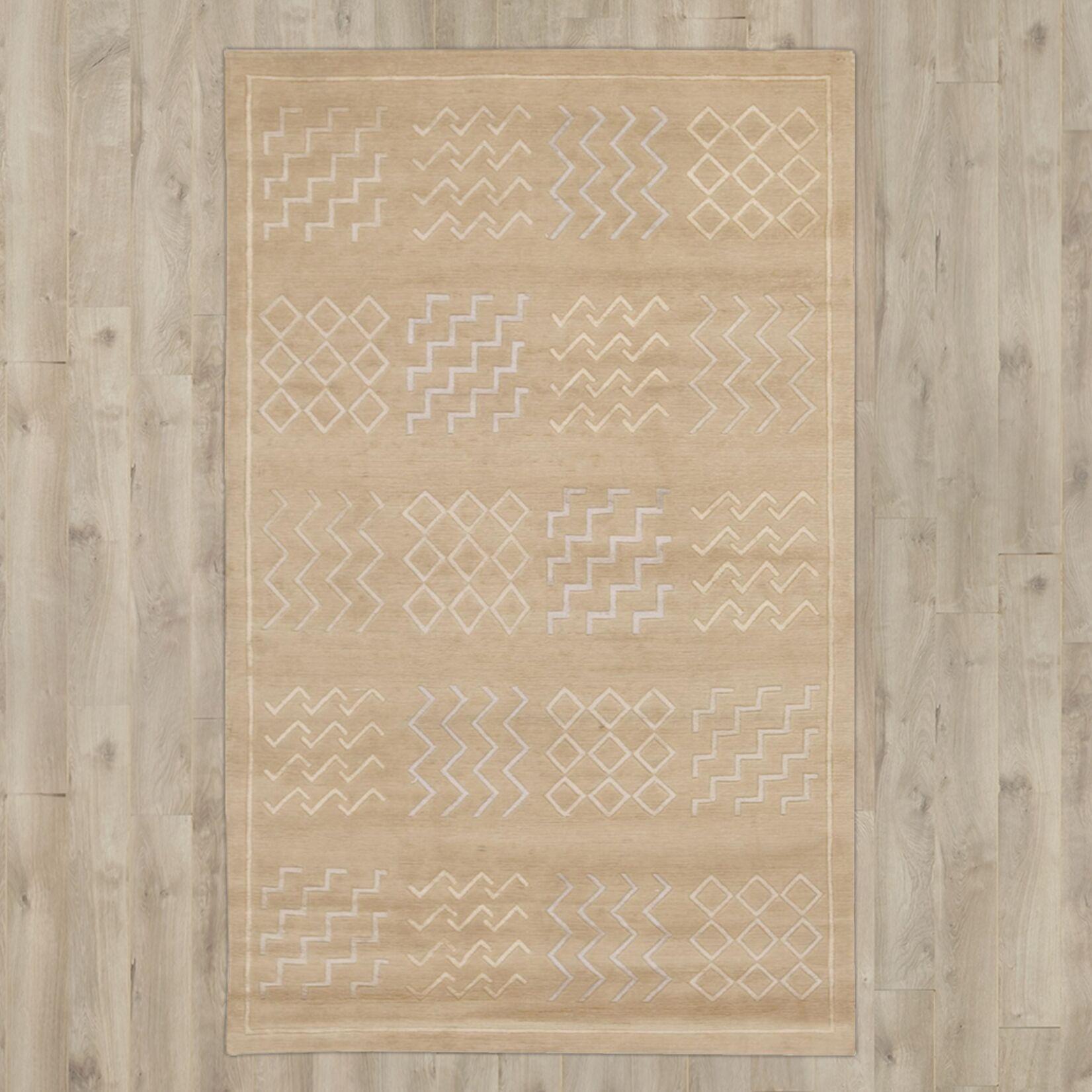 Yelisey Hand-Knotted Beige Area Rug Rug Size: Rectangle 7'9