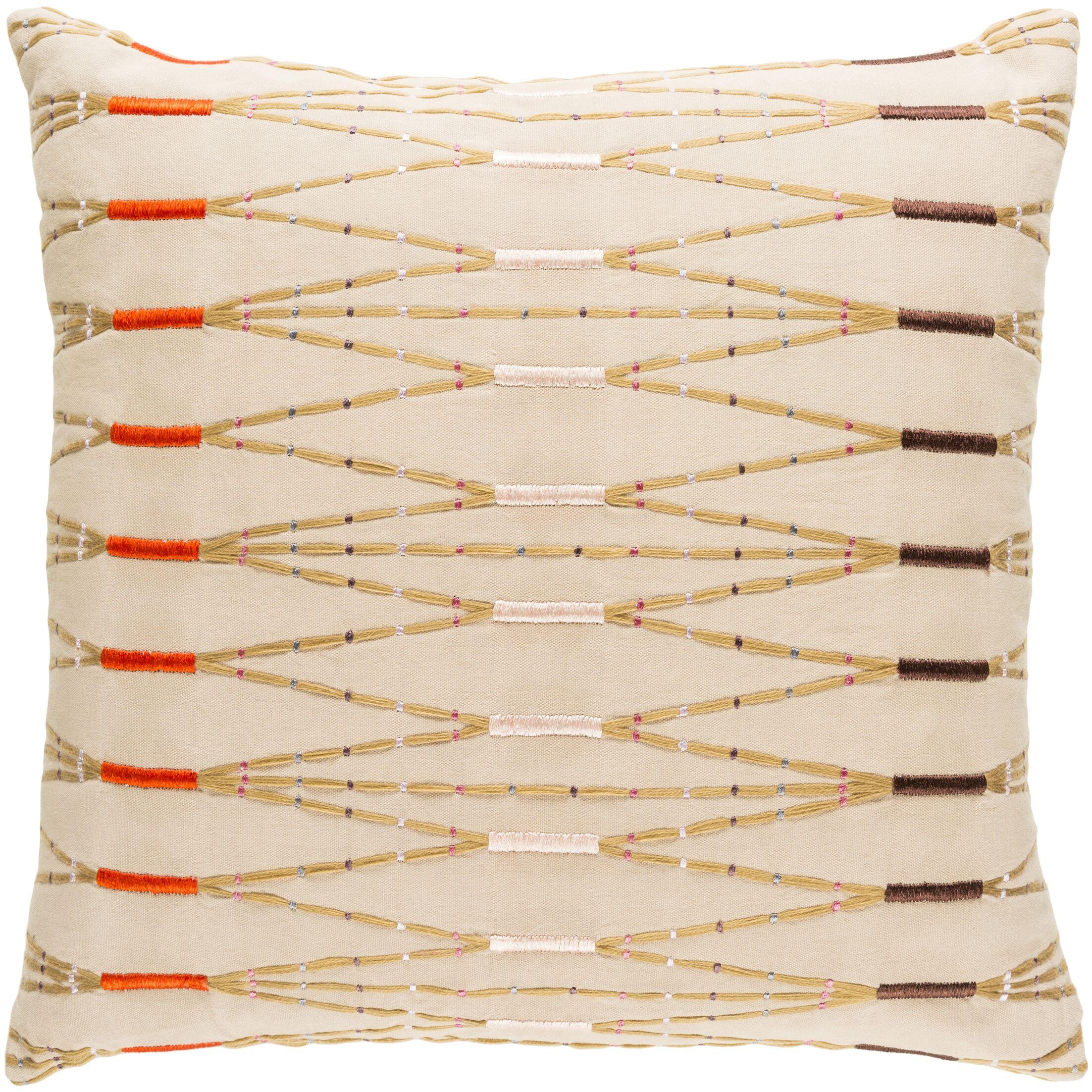 Chiara Cotton Pillow Cover Color: Brown, Size: 20