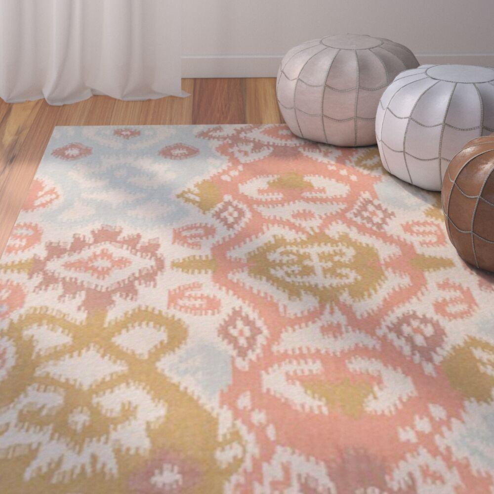 Evelyn Coral/Mocha Area Rug Rug Size: Rectangle 9' x 13'