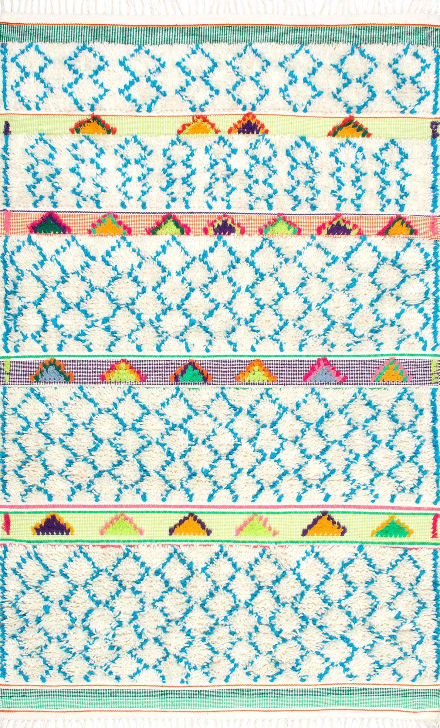 Claribel Hand-Tufted Ivory/Blue Area Rug Rug Size: Rectangle 5' x 8'