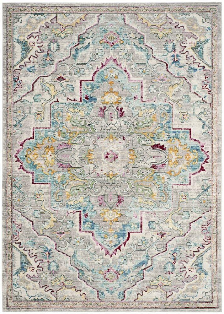 Lulu Floral Gray/Light Blue Area Rug Rug Size: Rectangle 5' x 8'
