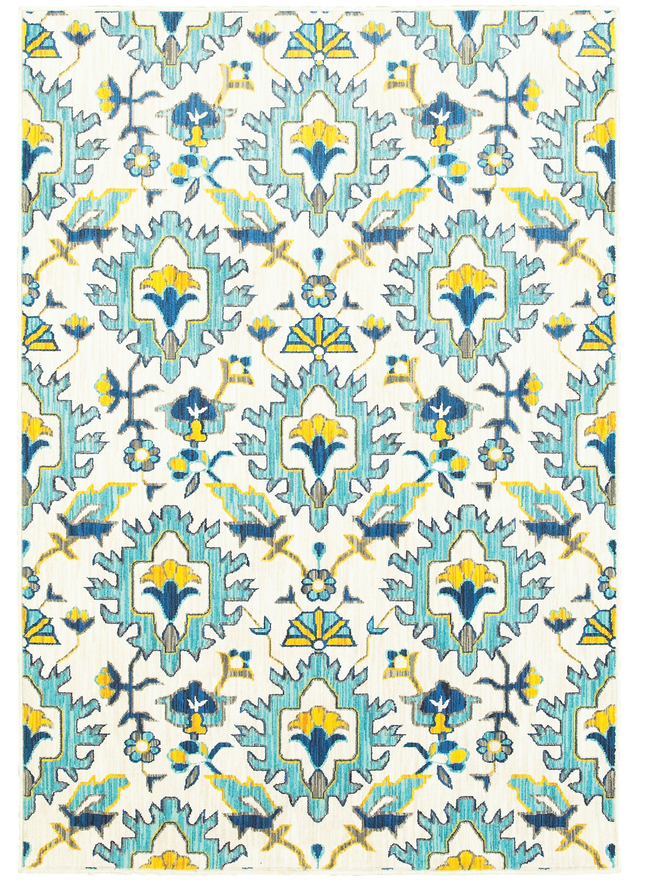 Mansi Blue/Yellow/Beige Area Rug Rug Size: Runner 2'3
