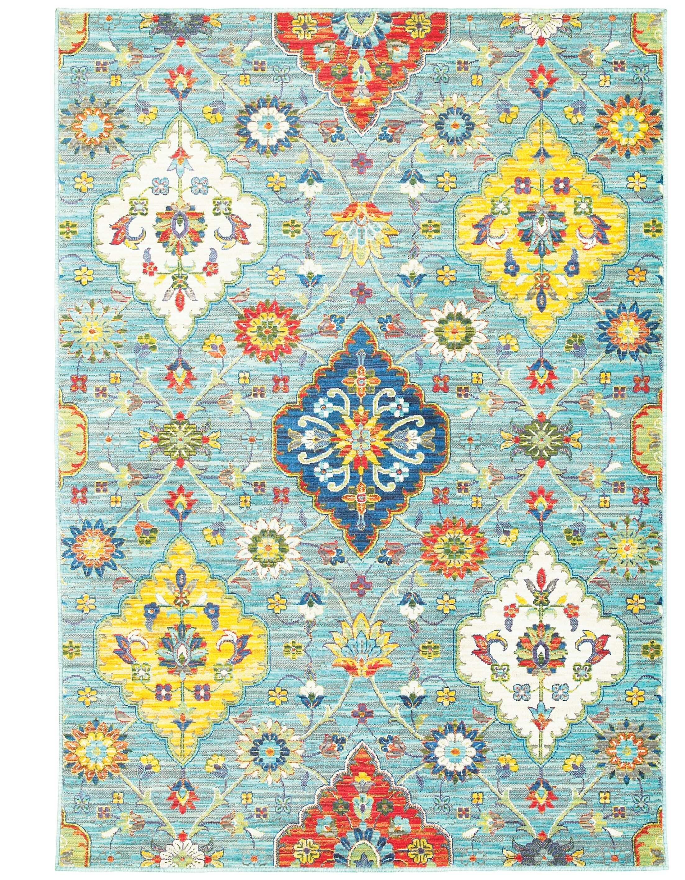 Mansi Blue/Yellow Area Rug Rug Size: Runner 2'3
