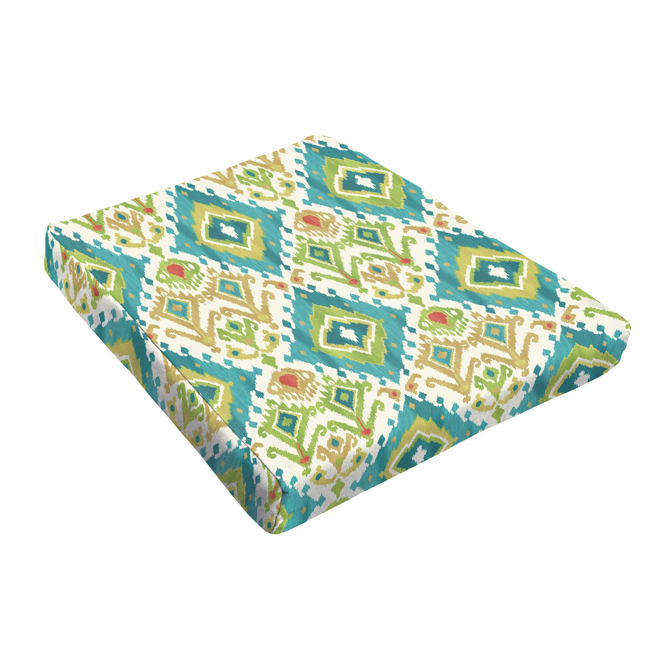 Indoor/Outdoor Dining Chair Cushion Fabric: Blue / Green