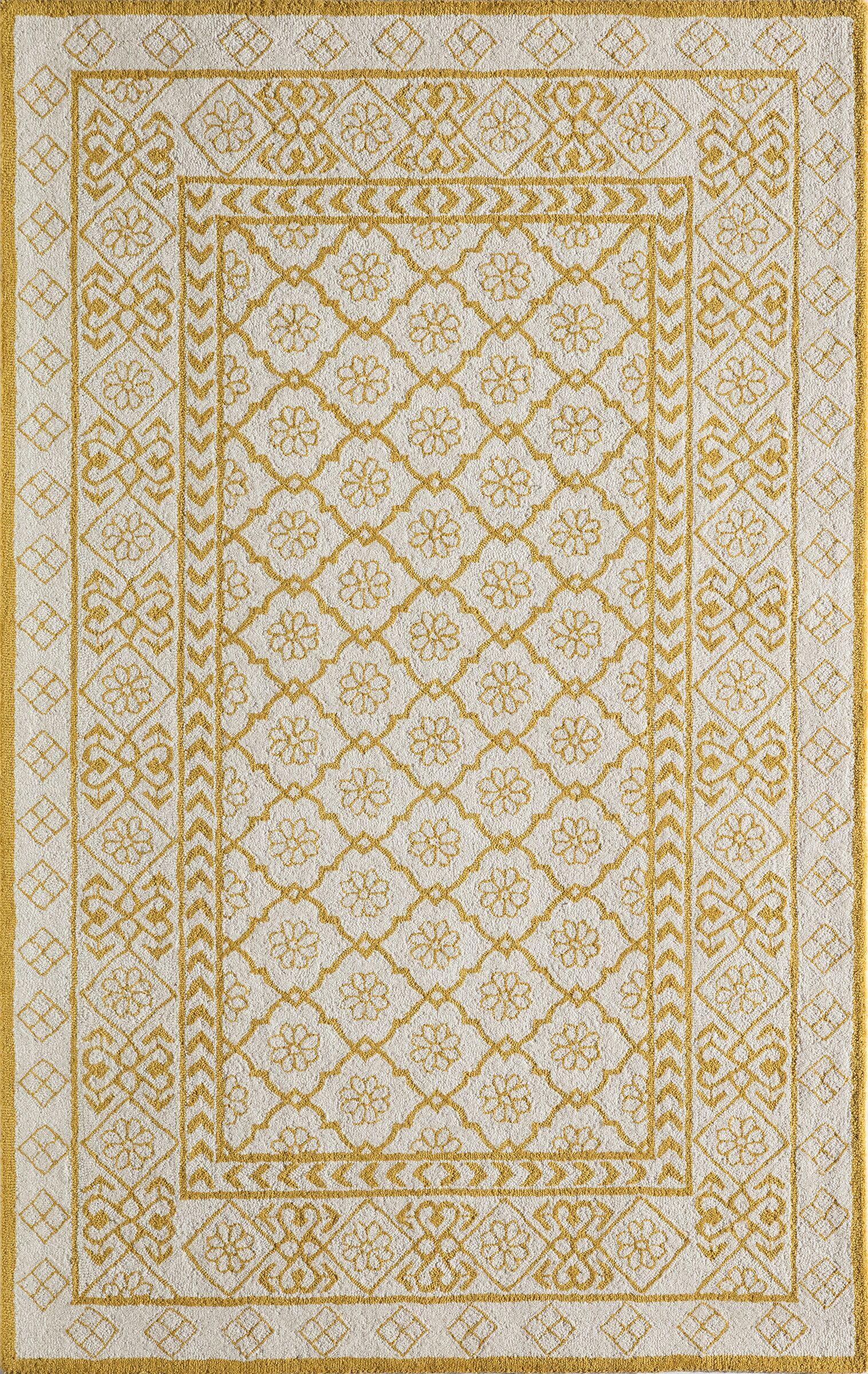 Anaya Hand-Hooked Gold/White Area Rug Rug Size: Rectangle 3'9