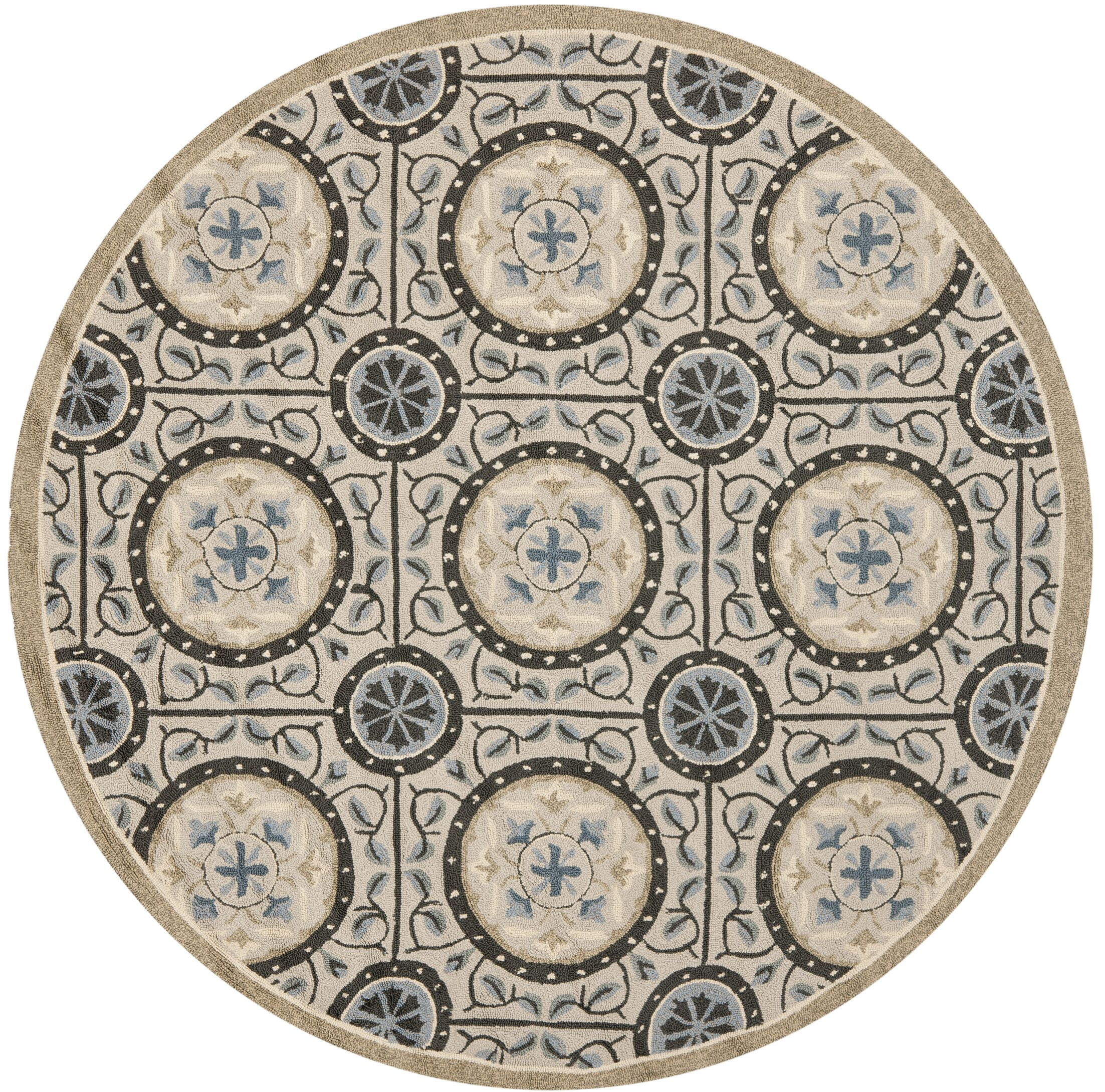 Puri Cement/Blue Outdoor Area Rug Rug Size: Round 6'