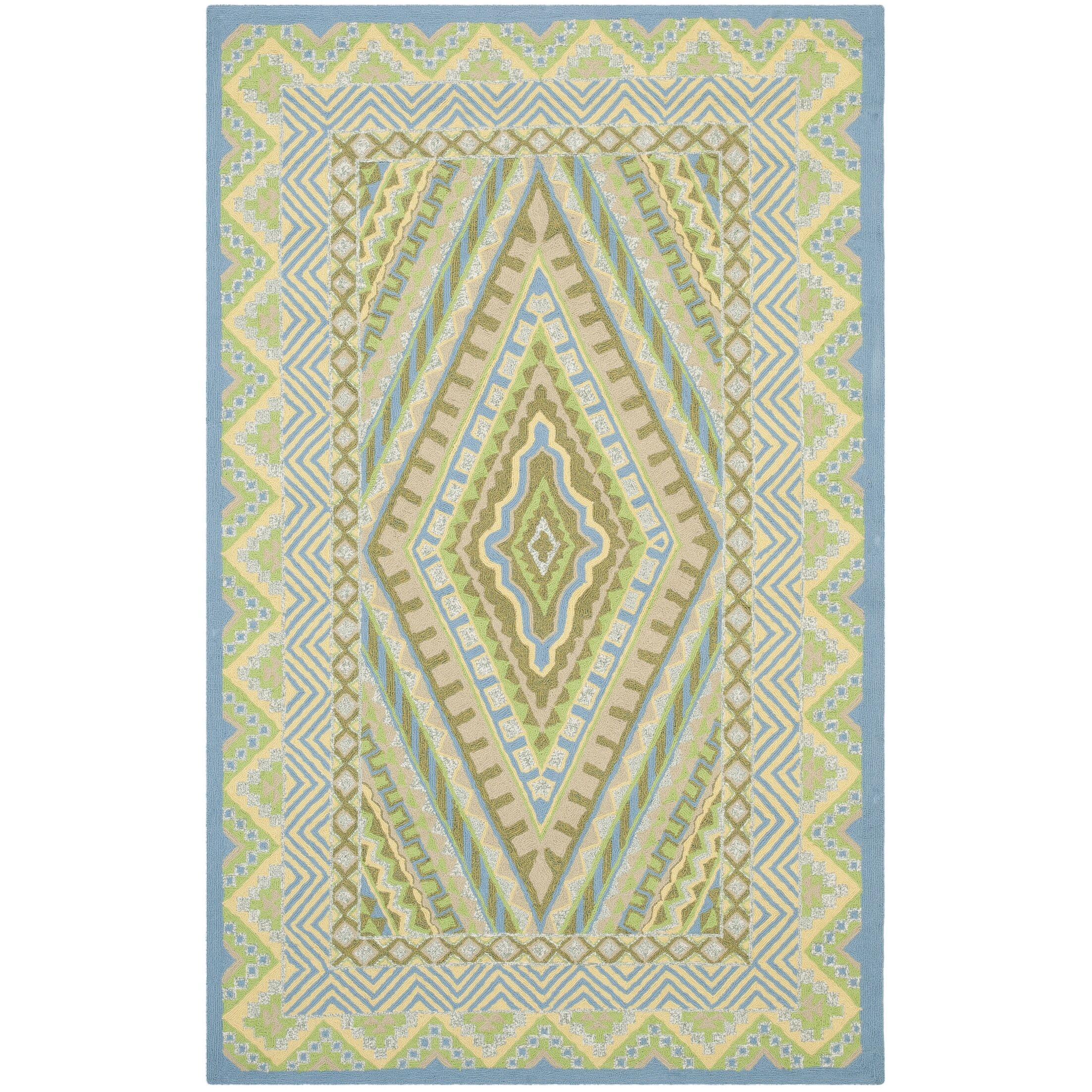 Puri Blue/Yellow Outdoor Area Rug Rug Size: Rectangle 3'6