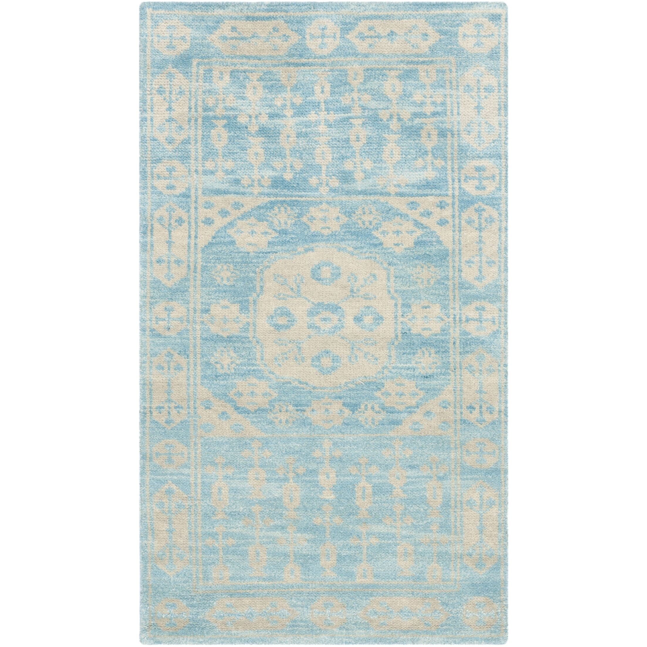 Maffei Blue Floral Plant Rug Rug Size: Rectangle 3' x 5'