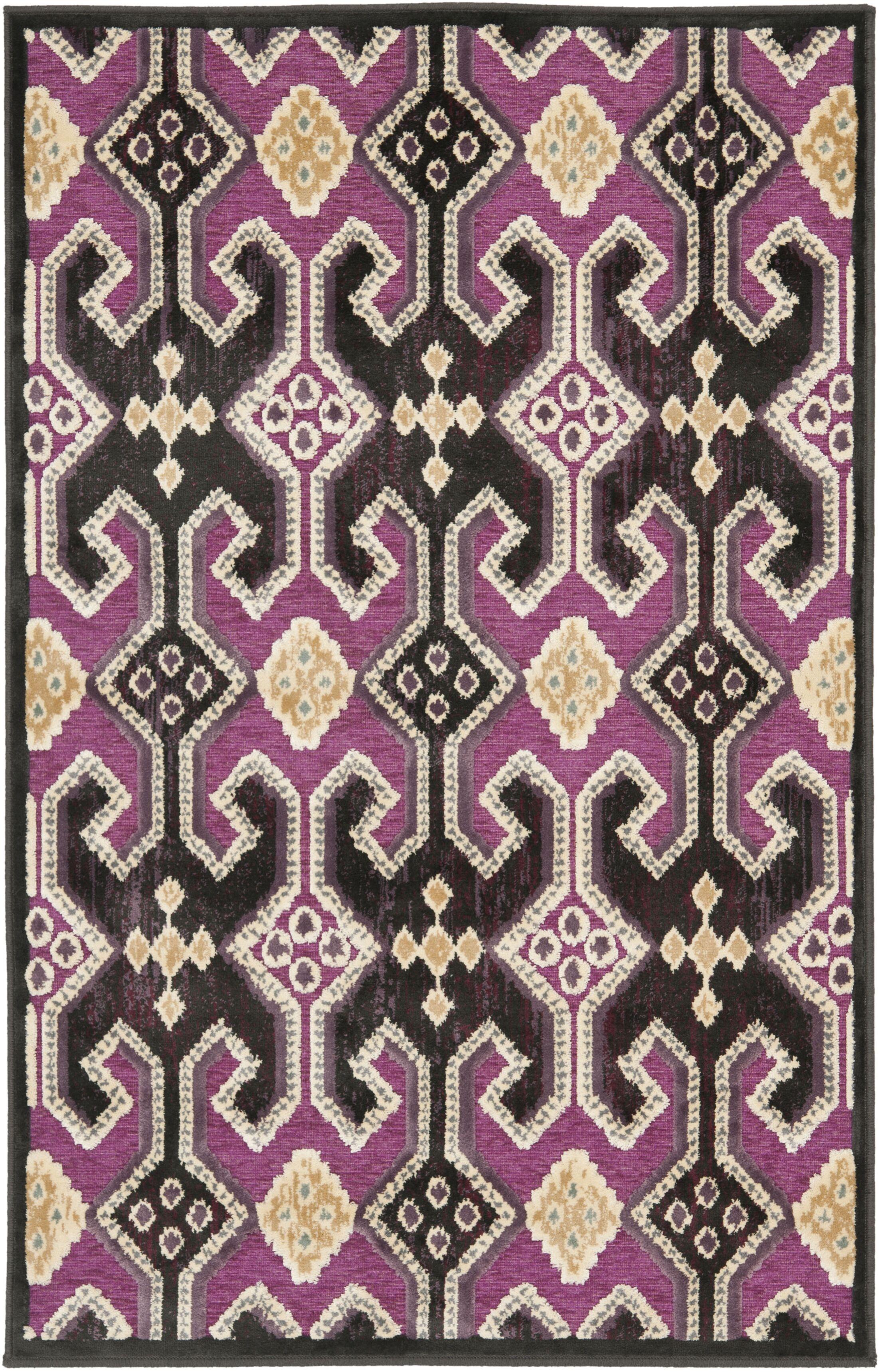 Saint-Michel Anthracite/Fuchisa Area Rug Rug Size: Rectangle 8' x 11'2