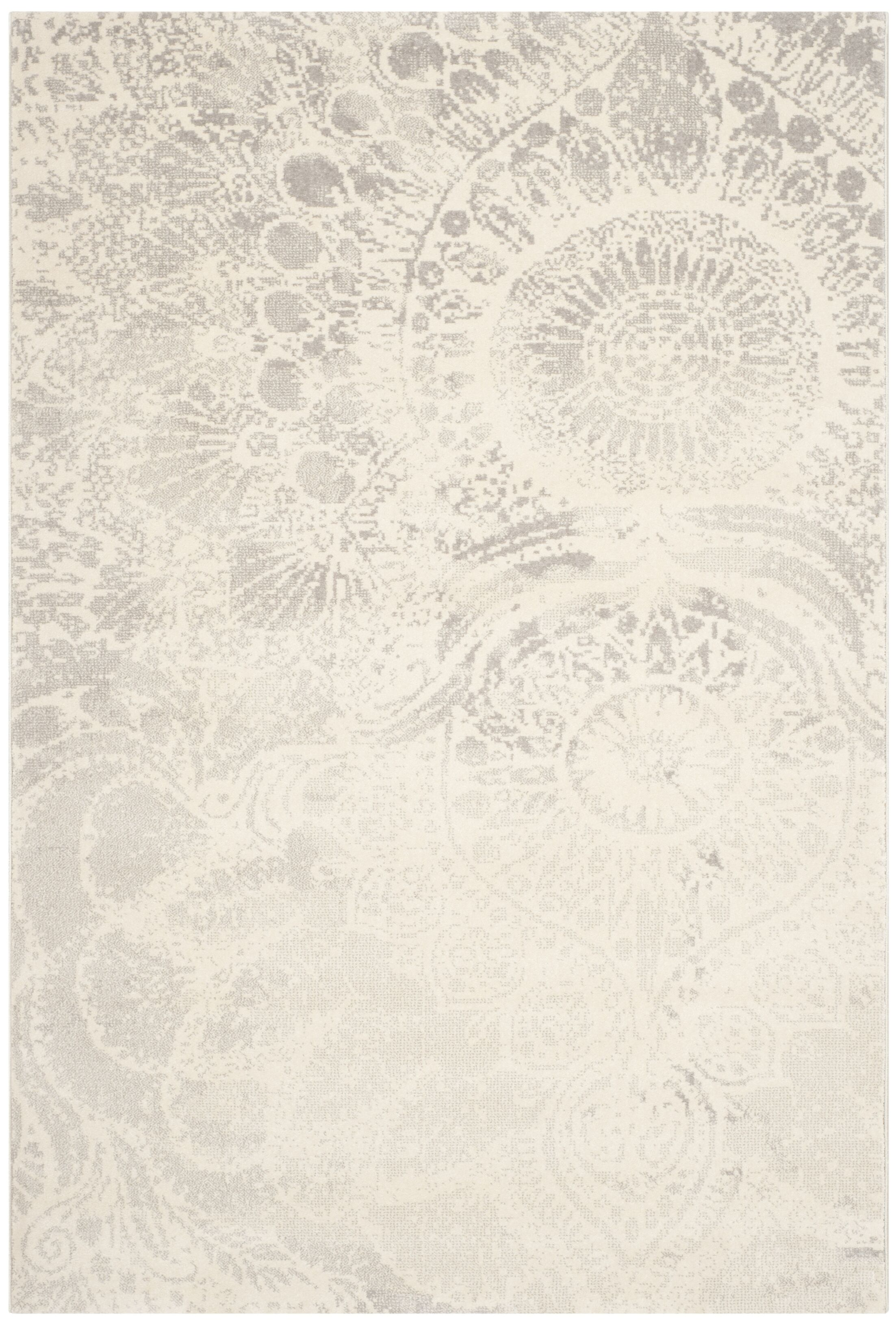 Hobscheid Light Grey / Ivory Contemporary Rug Rug Size: Rectangle 6'7
