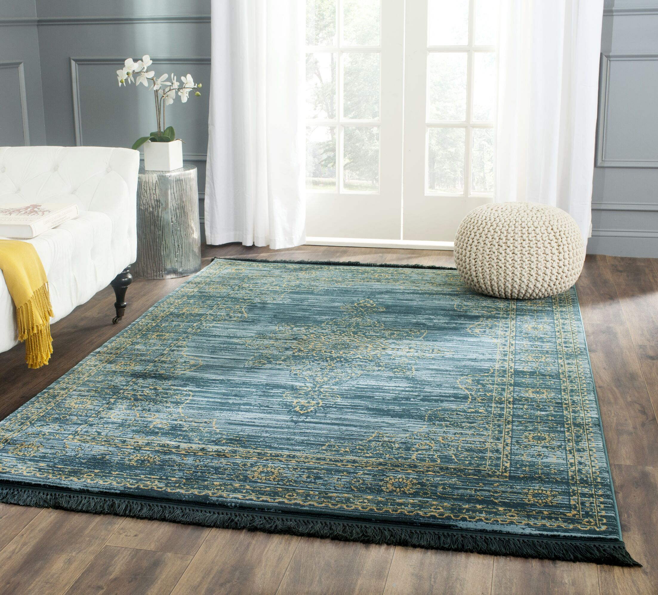 Zennia Turquoise/Gold Area Rug Rug Size: Rectangle 4' x 6'