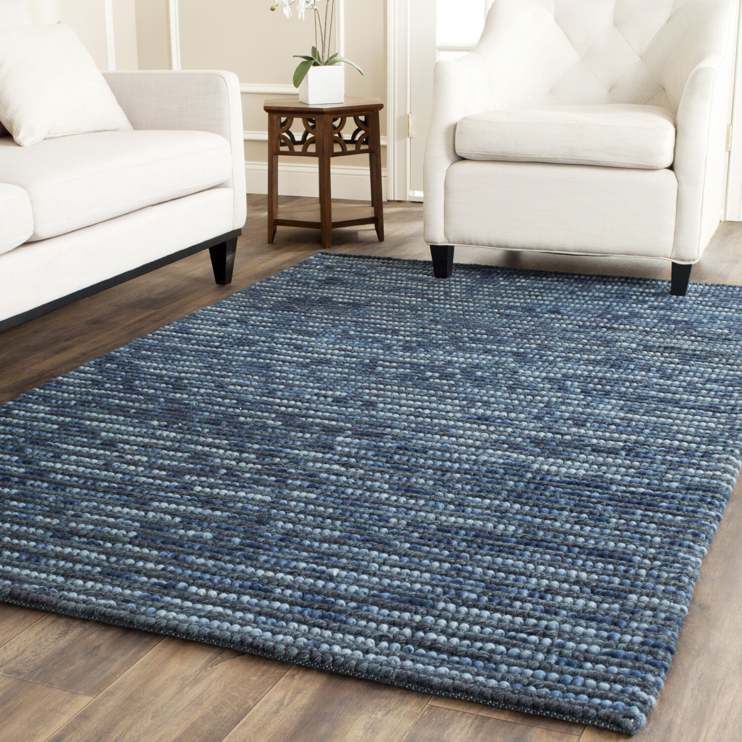 Makhi Hand-Knotted Dark Blue Area Rug Rug Size: Rectangle 9' x 12'
