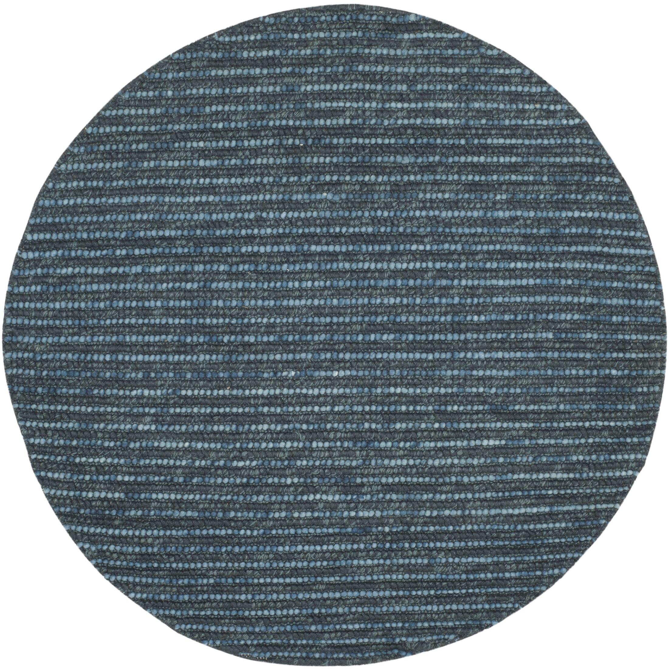 Makhi Hand-Knotted Dark Blue Area Rug Rug Size: Round 6'