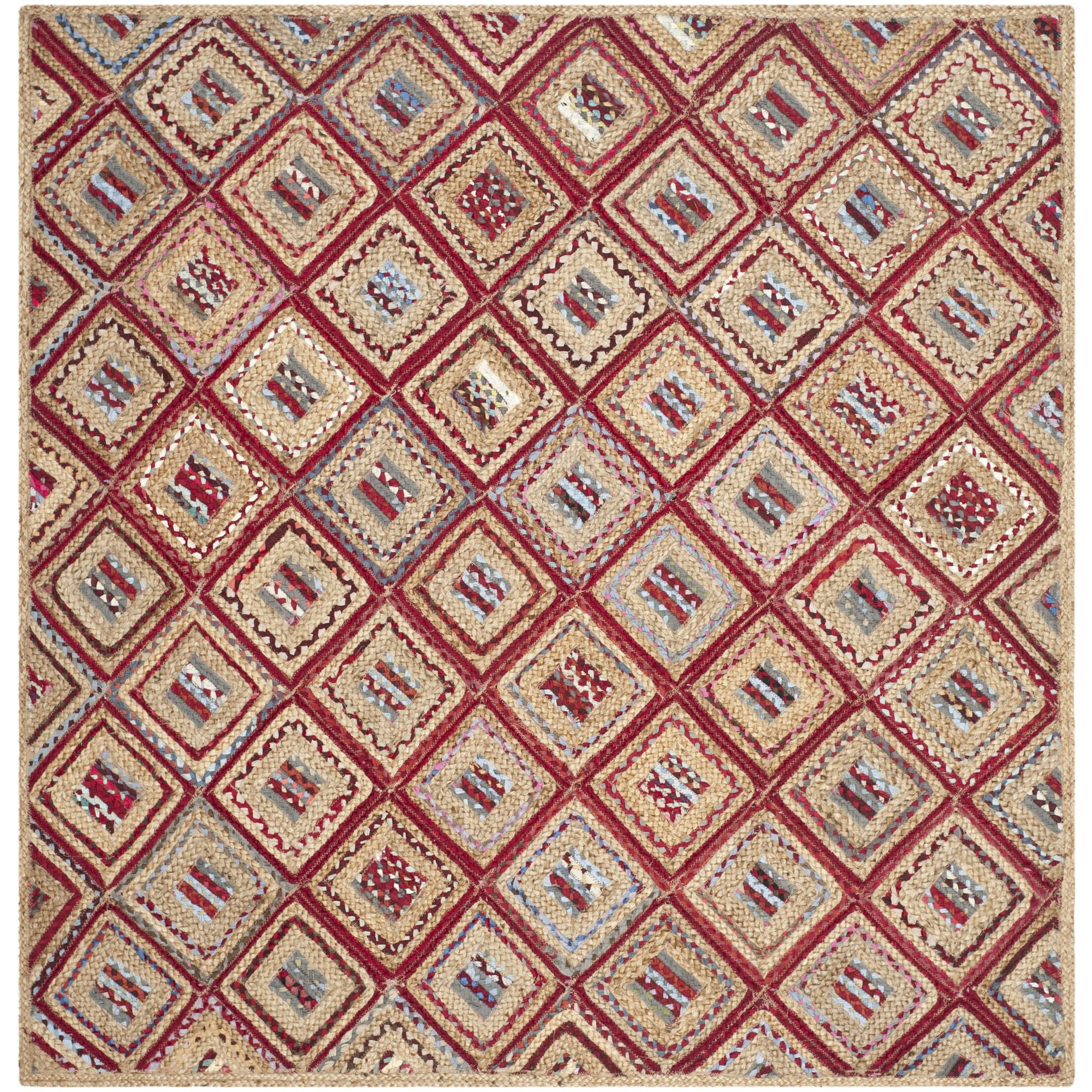Francisco Natural & Red Area Rug Rug Size: Square 6'