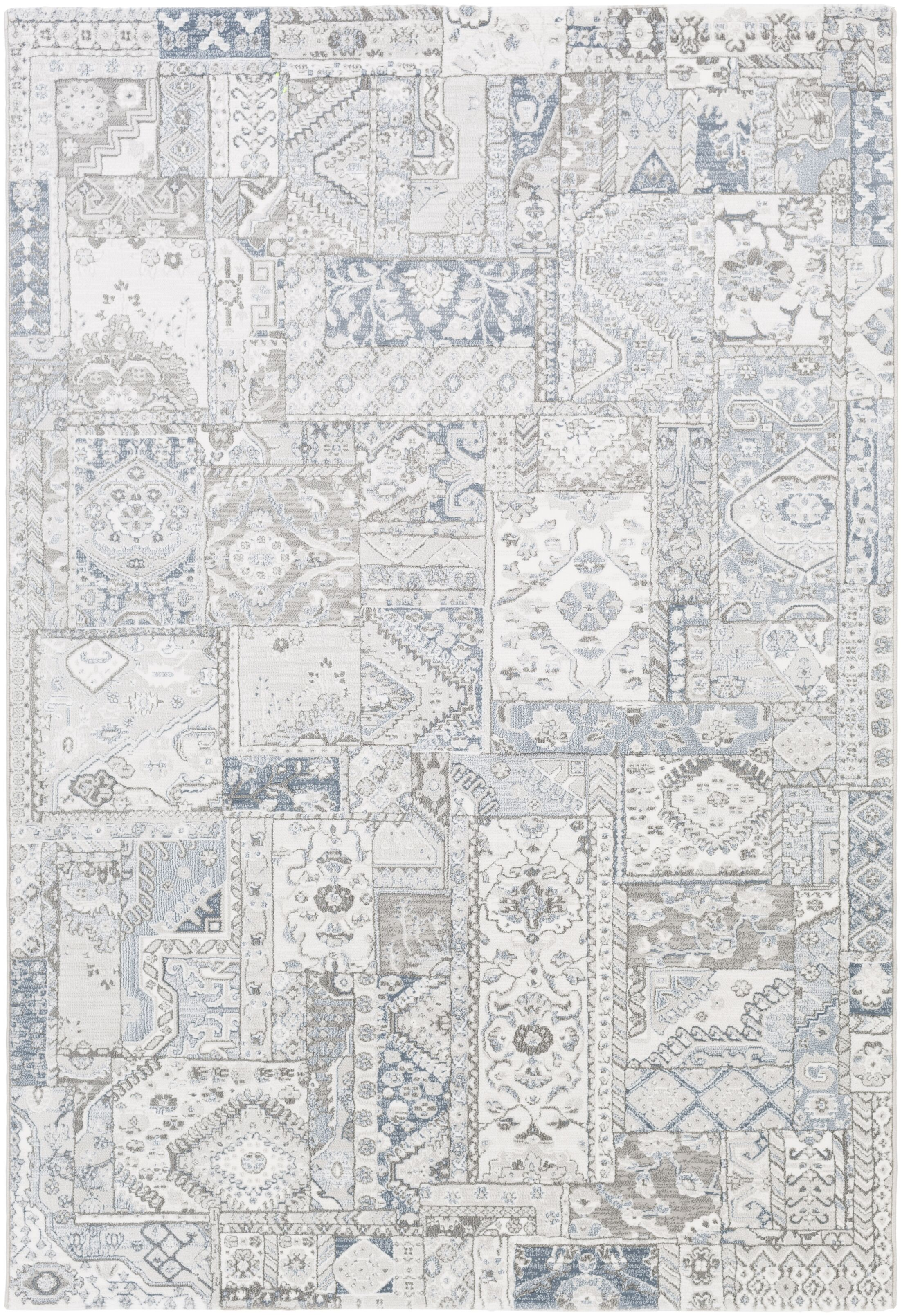 Shenk White/Gray Area Rug Rug Size: Rectangle 5'3