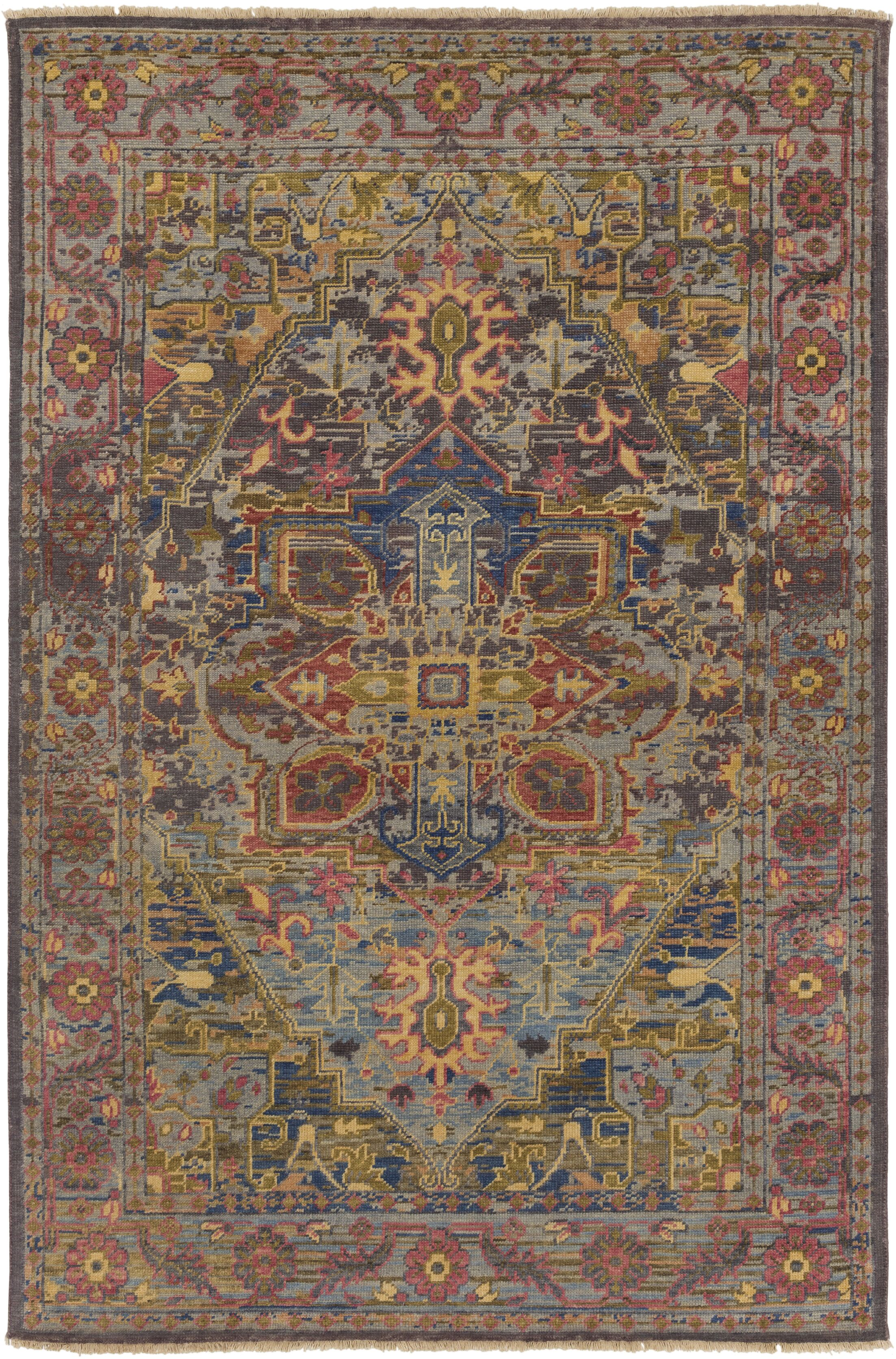 Parmenter Hand-Knotted Green/Purple Area Rug Rug Size: Rectangle 5'6