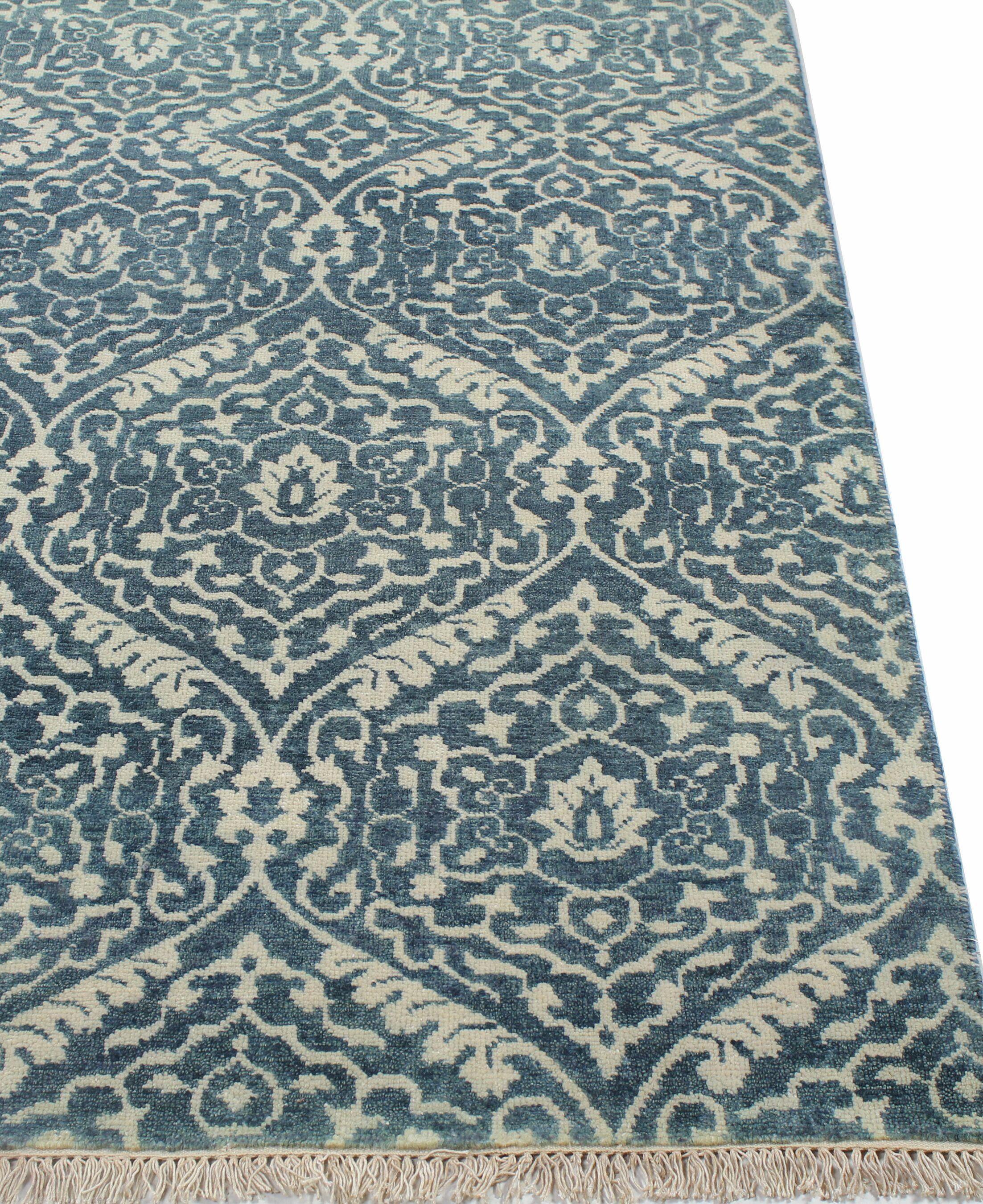 Arsenal Hand-Knotted Azure Area Rug Rug Size: 8'9