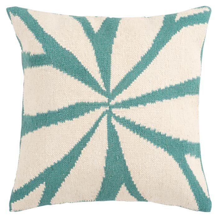 Kacem Throw Pillow Cover Color: NeutralBlue, Size: 22