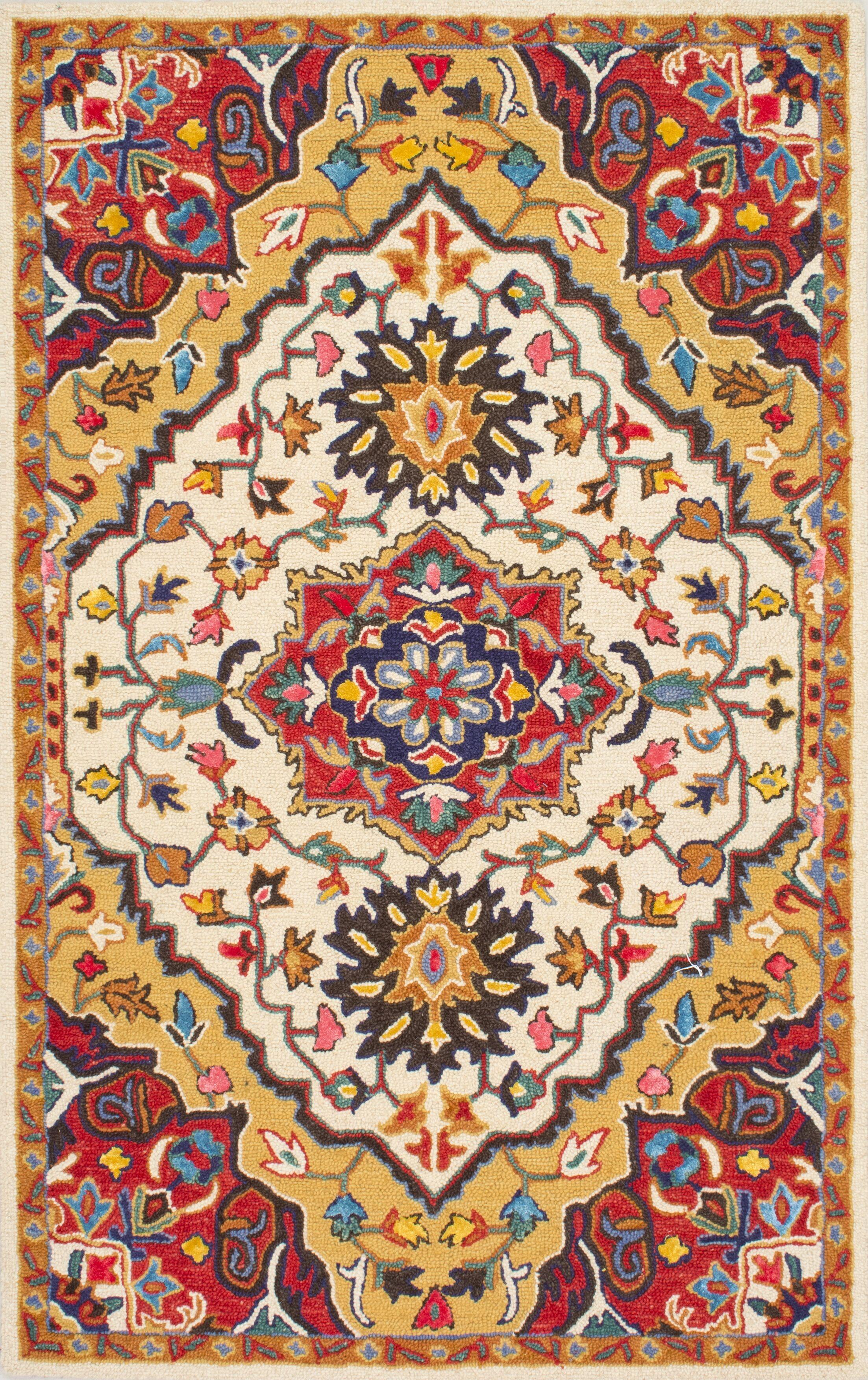 Sahab Hand-Tufted Red Area Rug Rug Size: Rectangle 5' x 8'