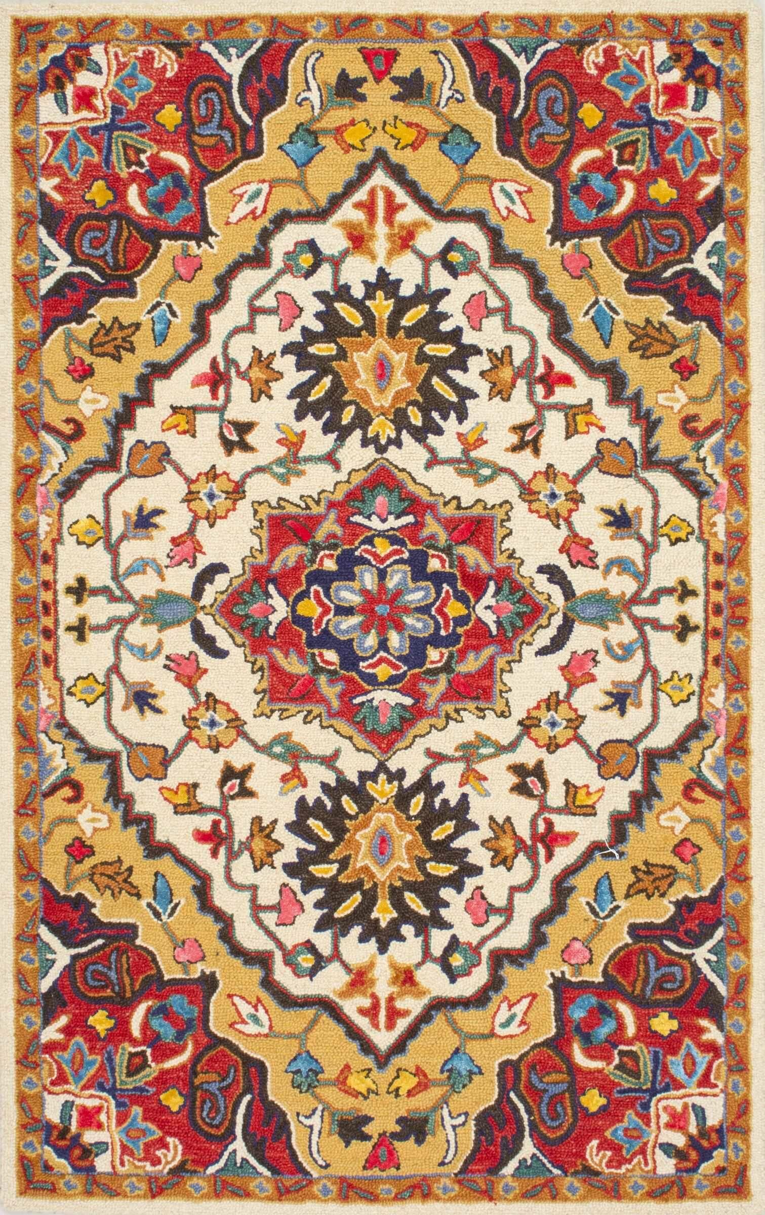 Sahab Hand-Tufted Red Area Rug Rug Size: Rectangle 8'6