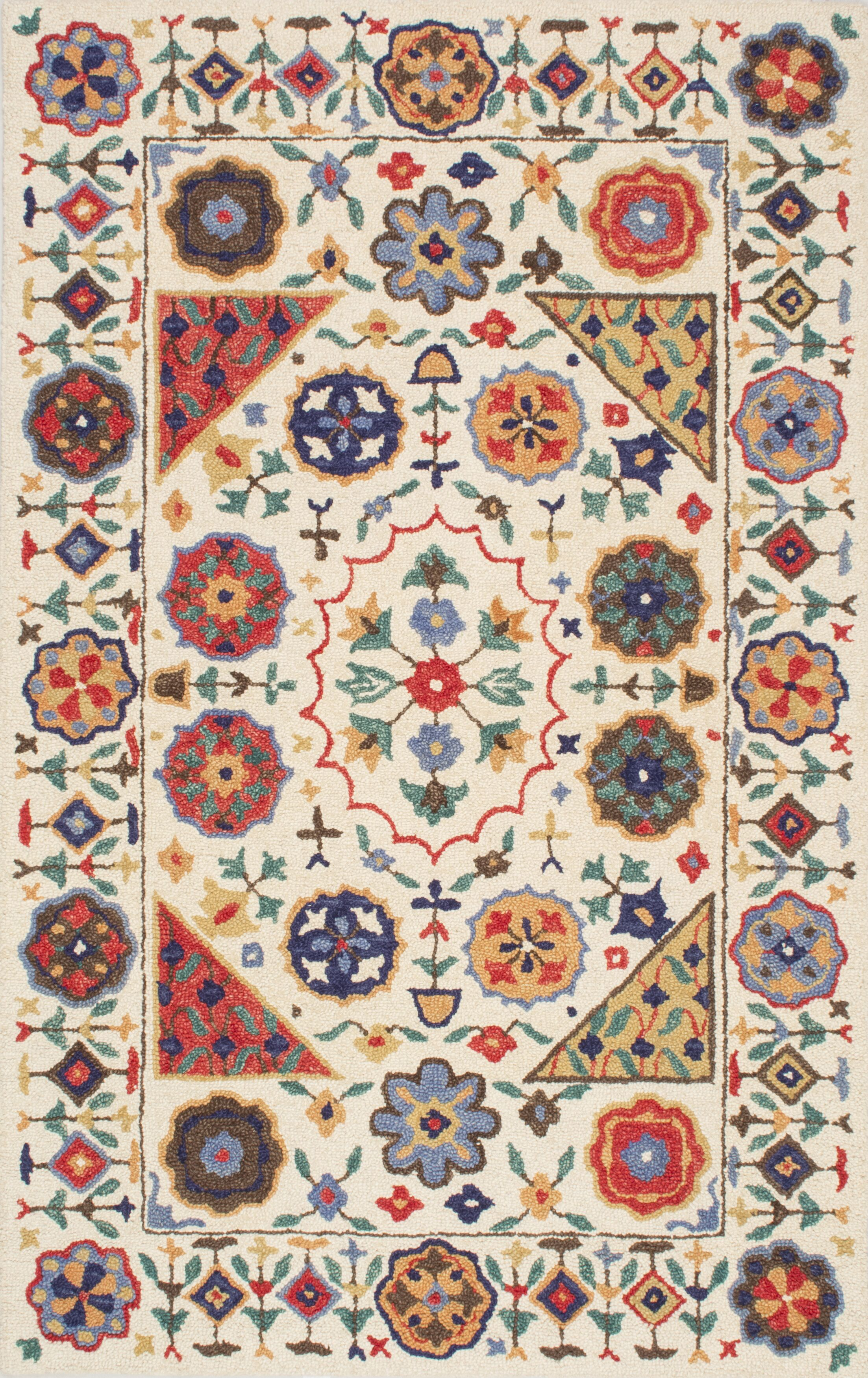 Aqdal Hand-Tufted Beige/Red Area Rug Rug Size: Rectangle 4' x 6'