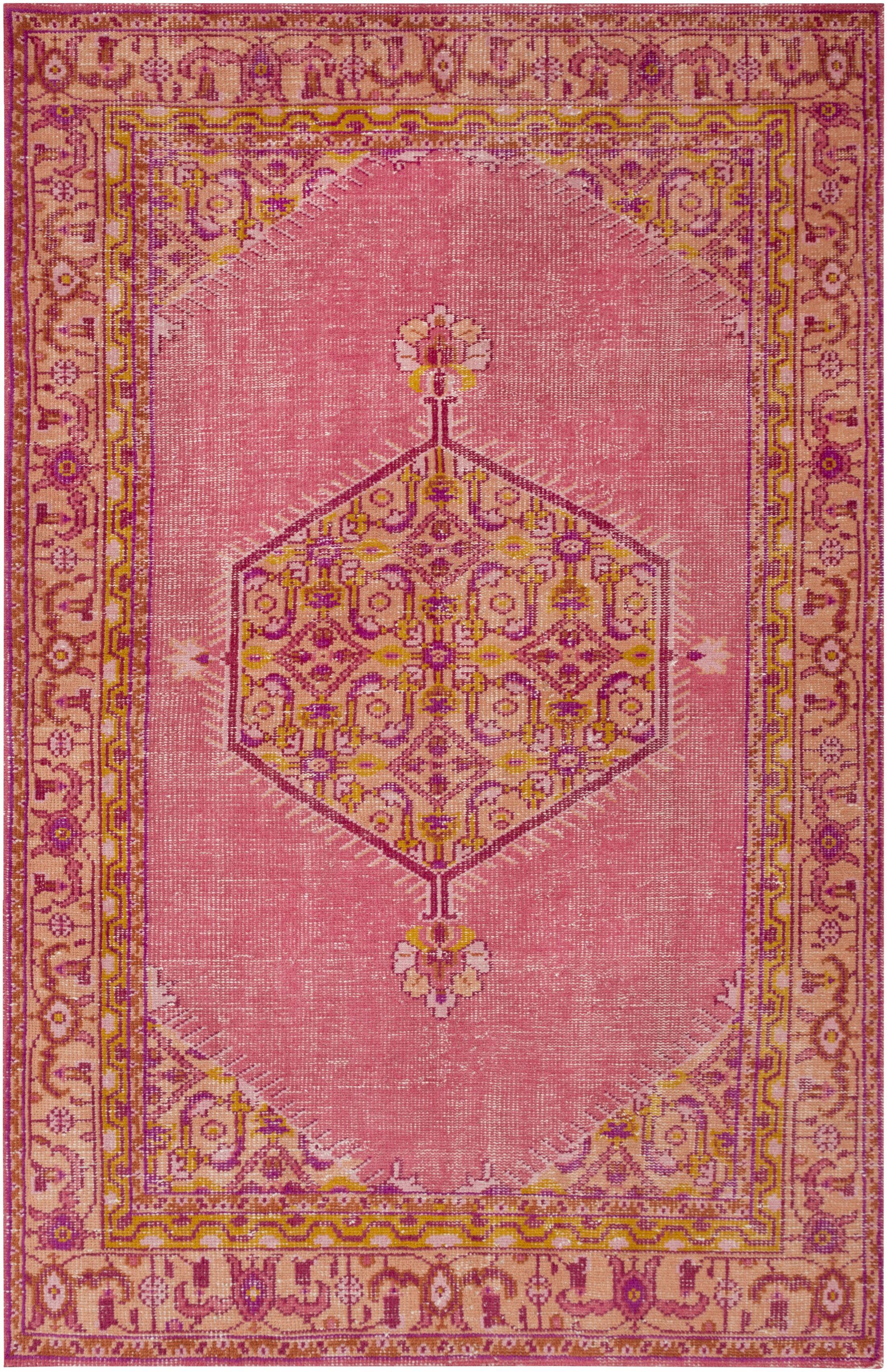 Blackshear Hot Pink/Gold Oriental Area Rug Rug Size: Rectangle 2' x 3'