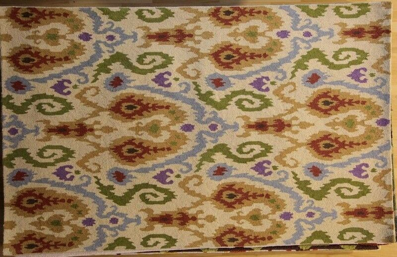 Anand Hand-Hooked Ivory Area Rug Rug Size: Rectangle 7'9