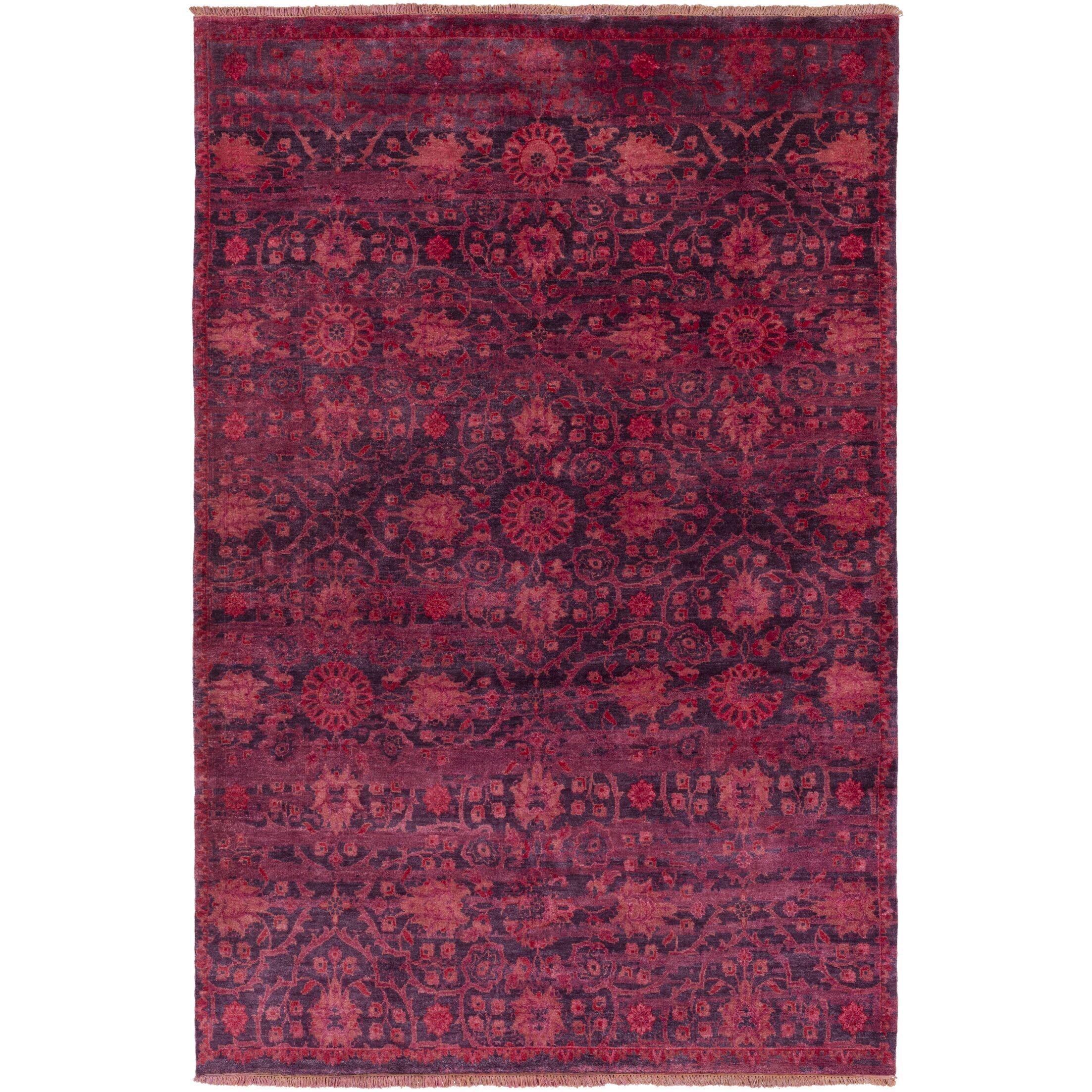 Halima Hand-Knotted Burgundy Area Rug Rug Size: Rectangle 5'6